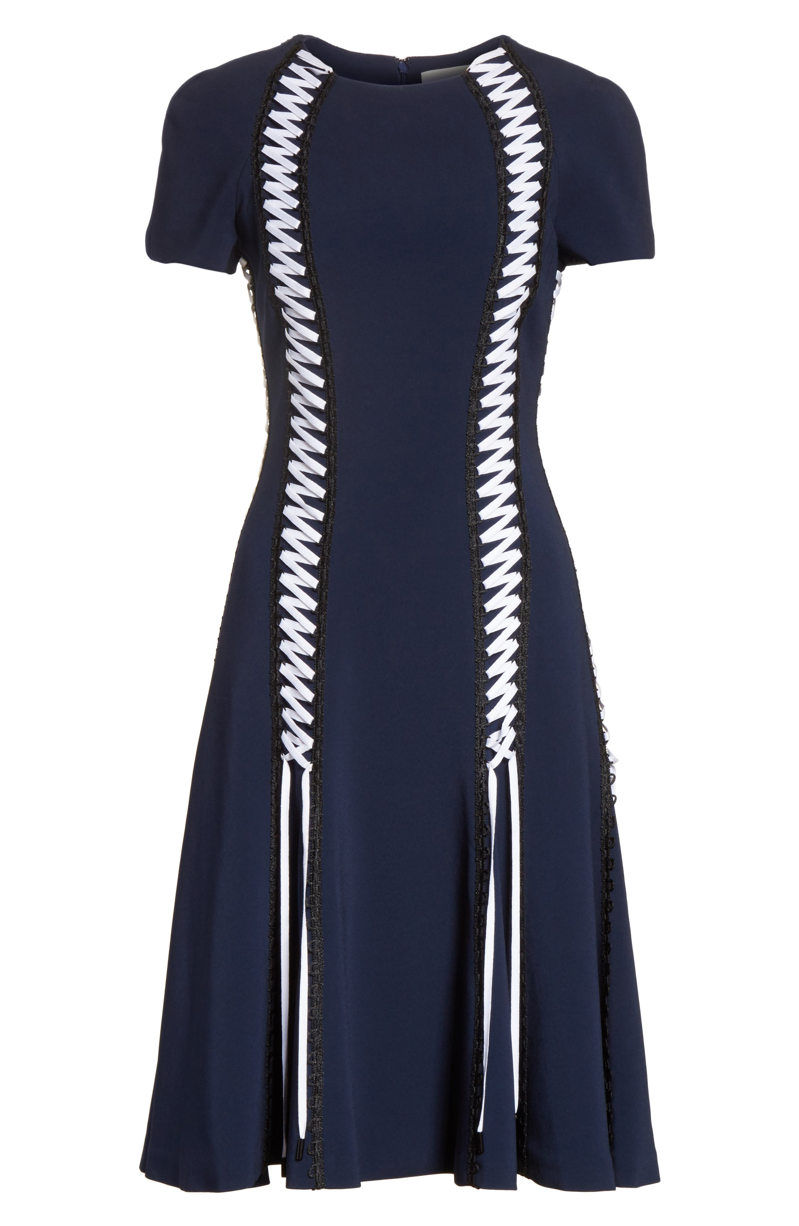 Lace-Up Crepe Dress,                             Alternate thumbnail 6, color,                             Midnight Combo