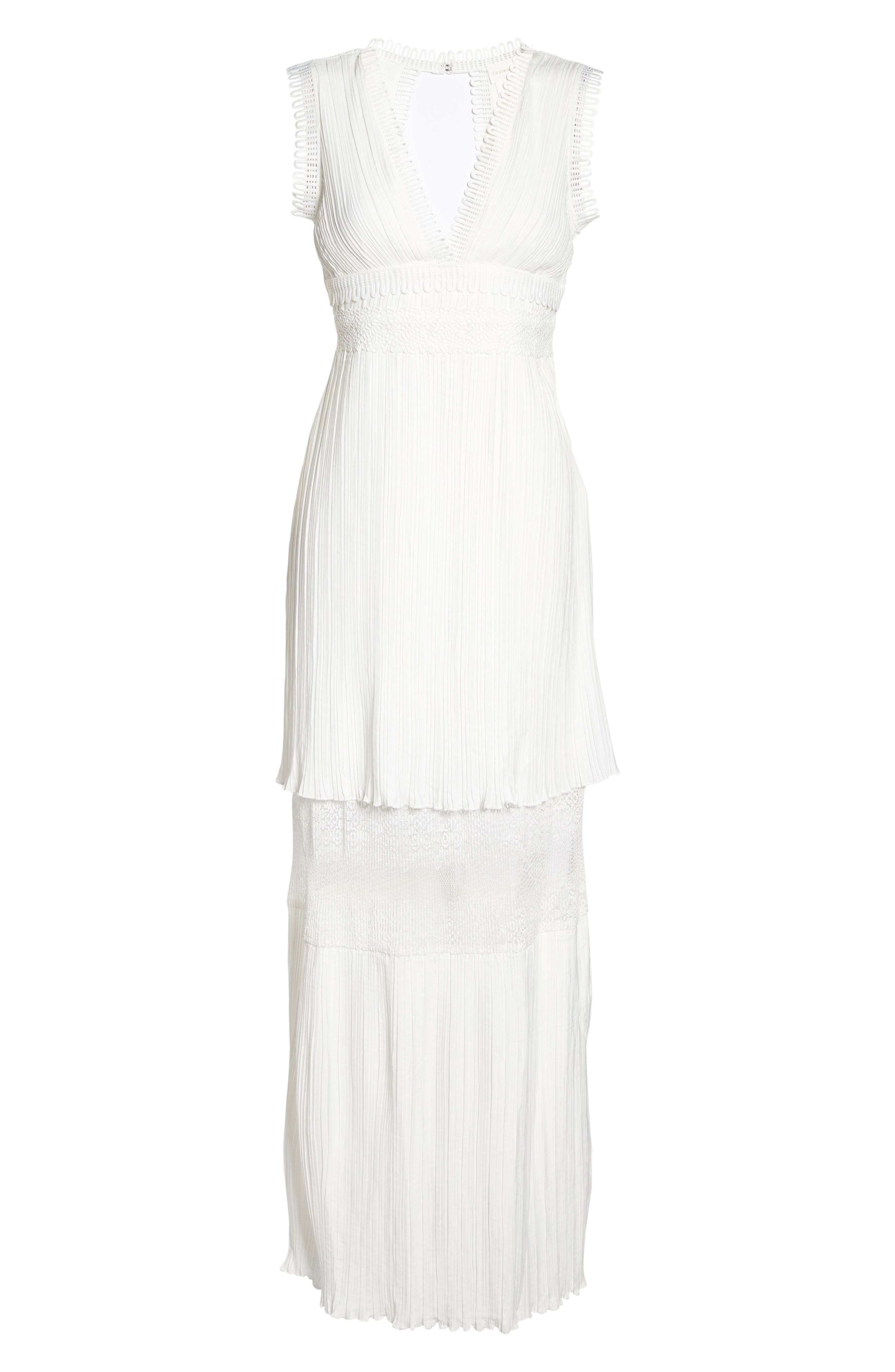 Jasmine Lace Inset Pleated Dress,                             Alternate thumbnail 6, color,                             Ivory