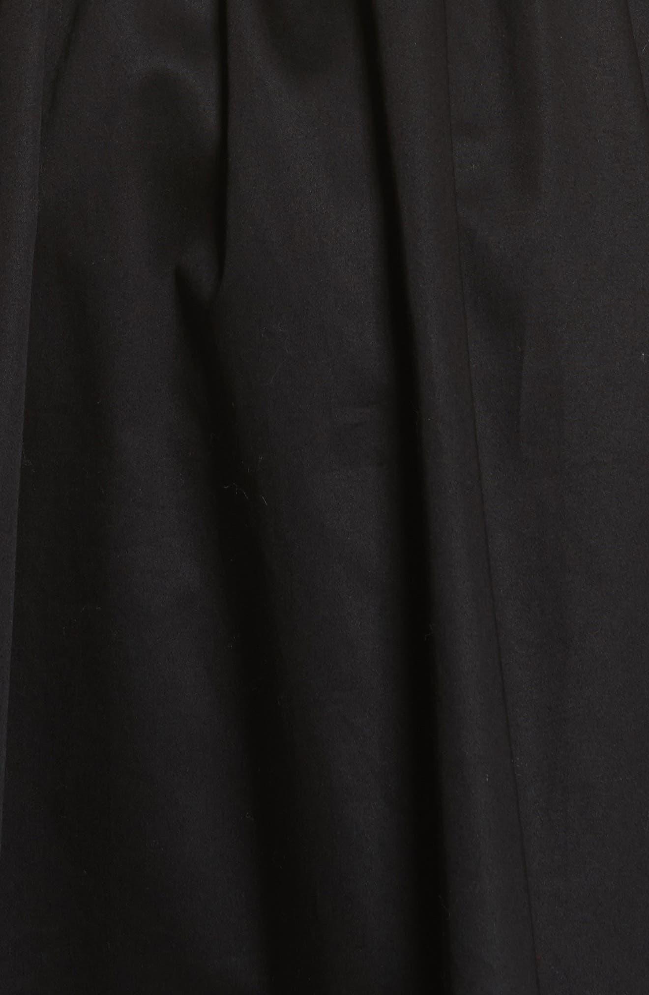 Wrap Front Sateen Dress,                             Alternate thumbnail 5, color,                             Black
