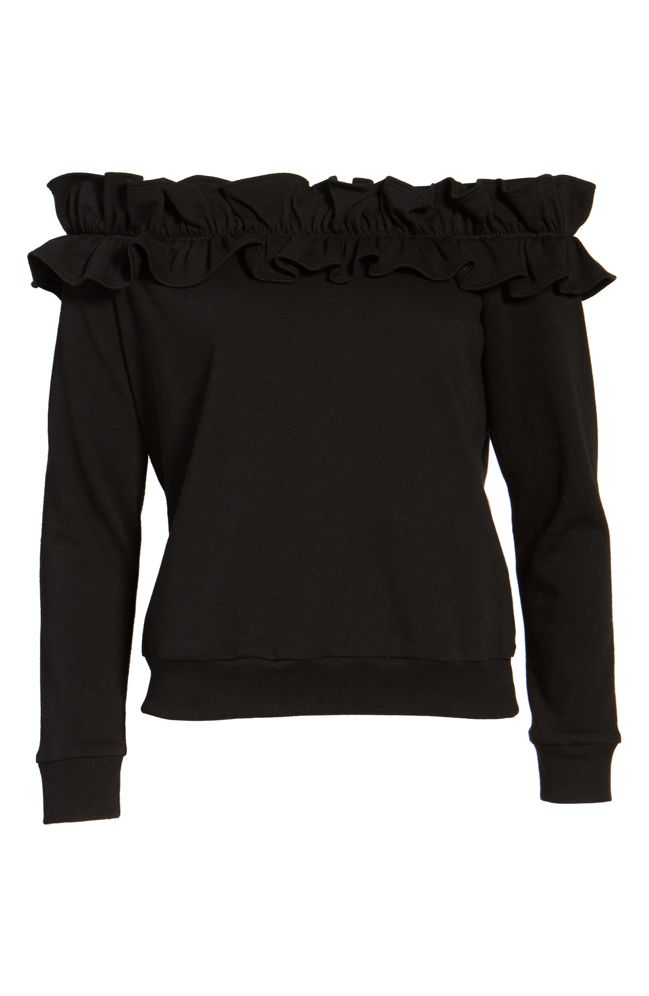 Ruffle Off the Shoulder Top,                         Main,                         color, Black