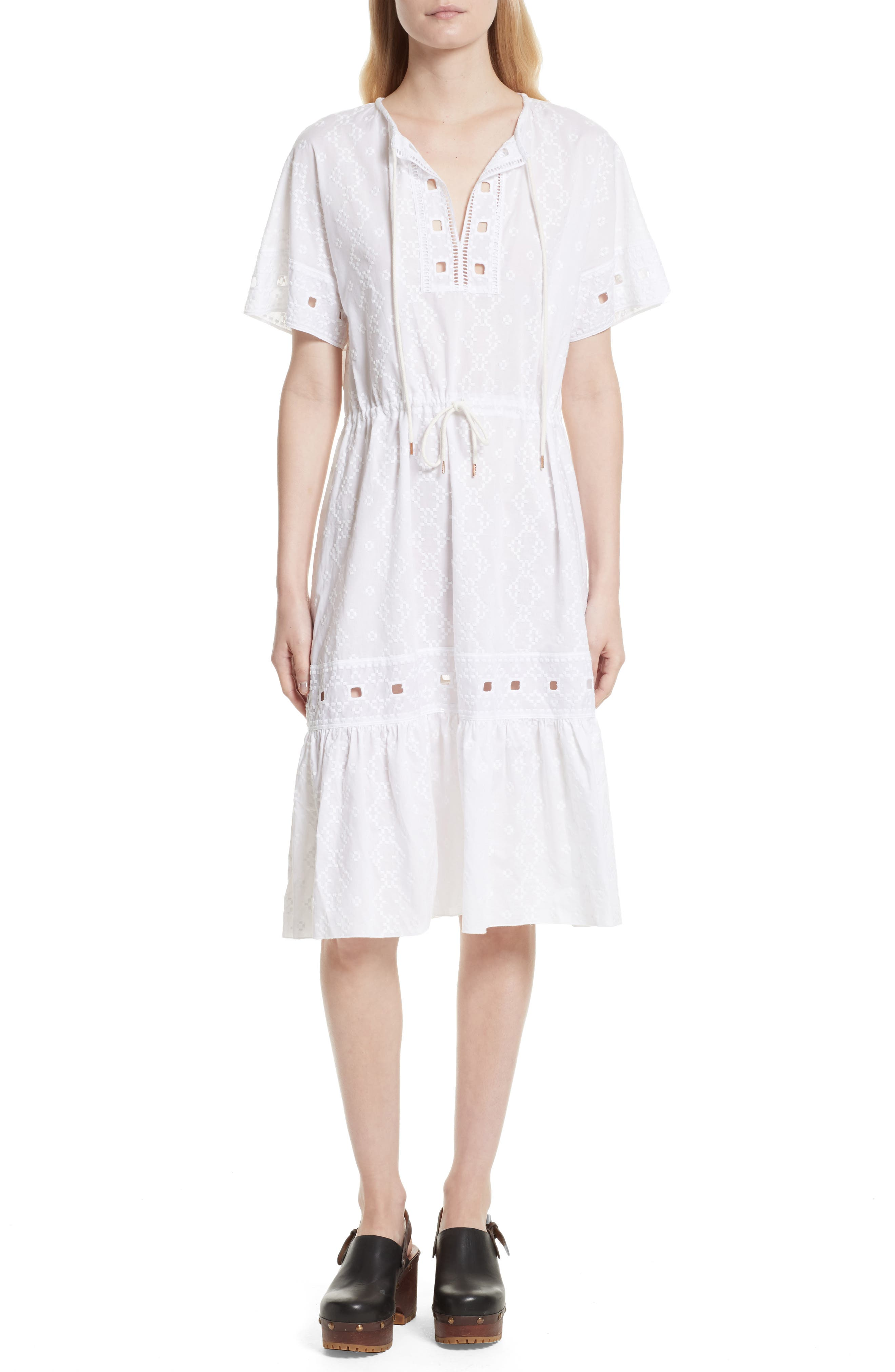 Cotton Eyelet Dress,                         Main,                         color, White