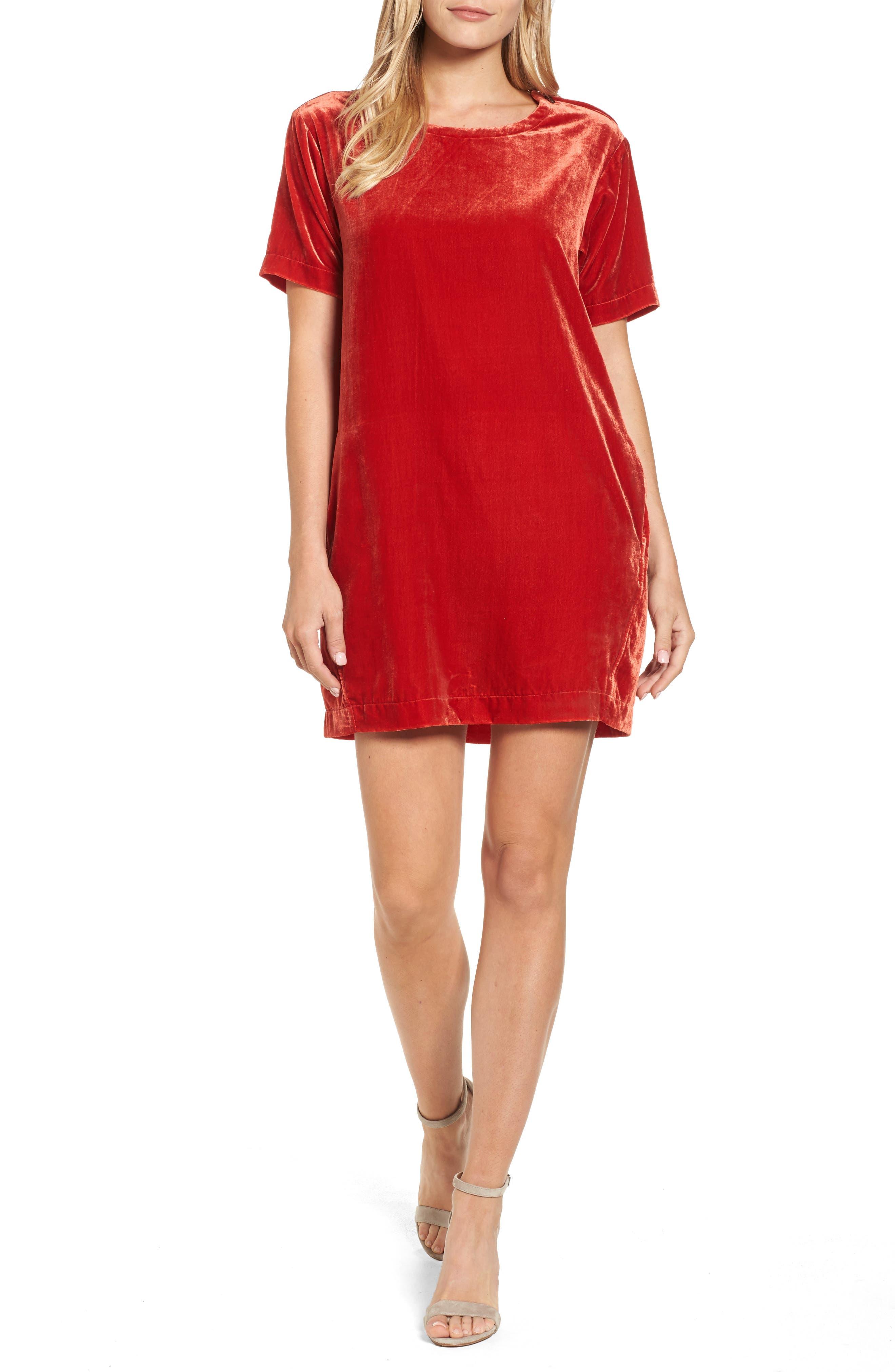 Zip Shoulder Velvet Shift Dress,                         Main,                         color, Cherry