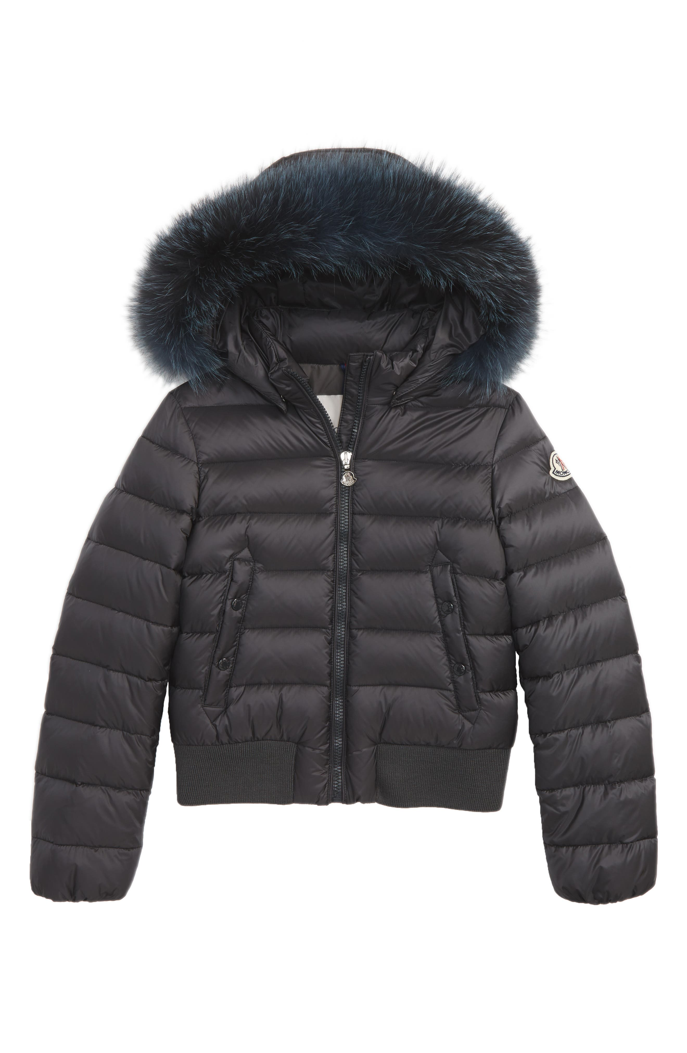 Moncler New Alberta Down Jacket with Genuine Fox Fur Trim (Little Girls & Big Girls)