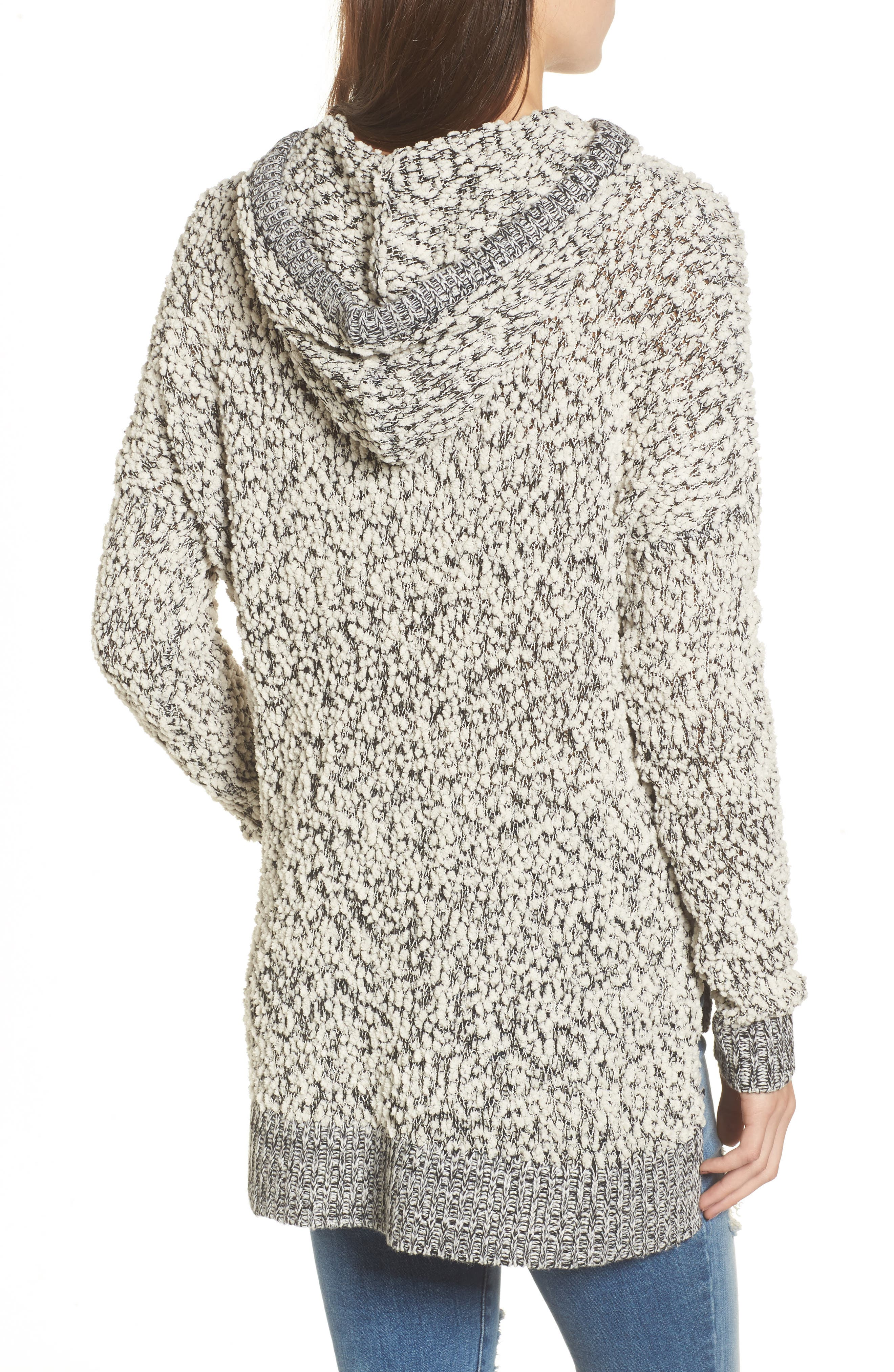 Knit Hooded Sweater,                             Alternate thumbnail 2, color,                             Ivory/ Black Mix