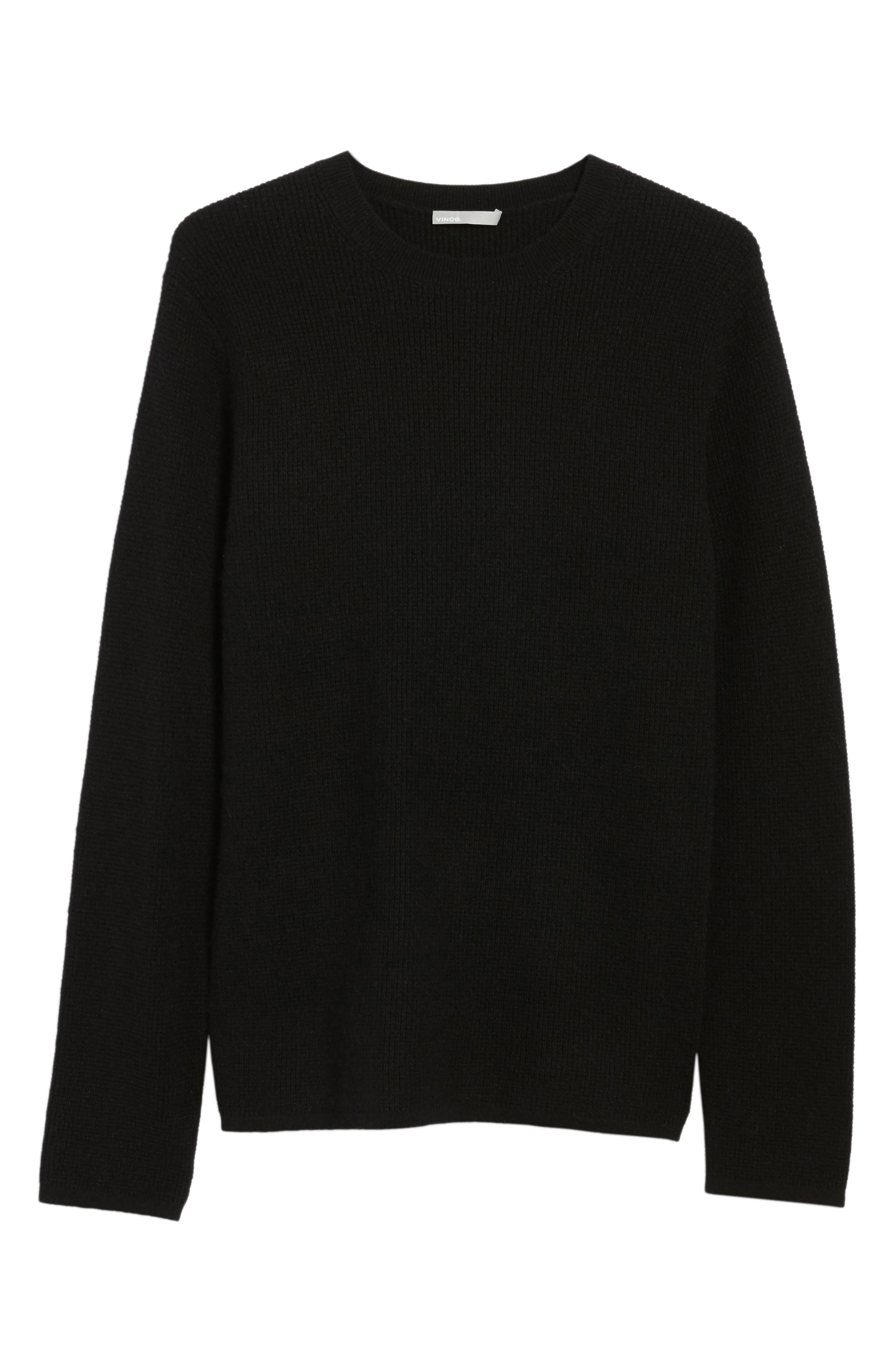 Thermal Wool & Cashmere Sweater,                             Alternate thumbnail 6, color,                             Black