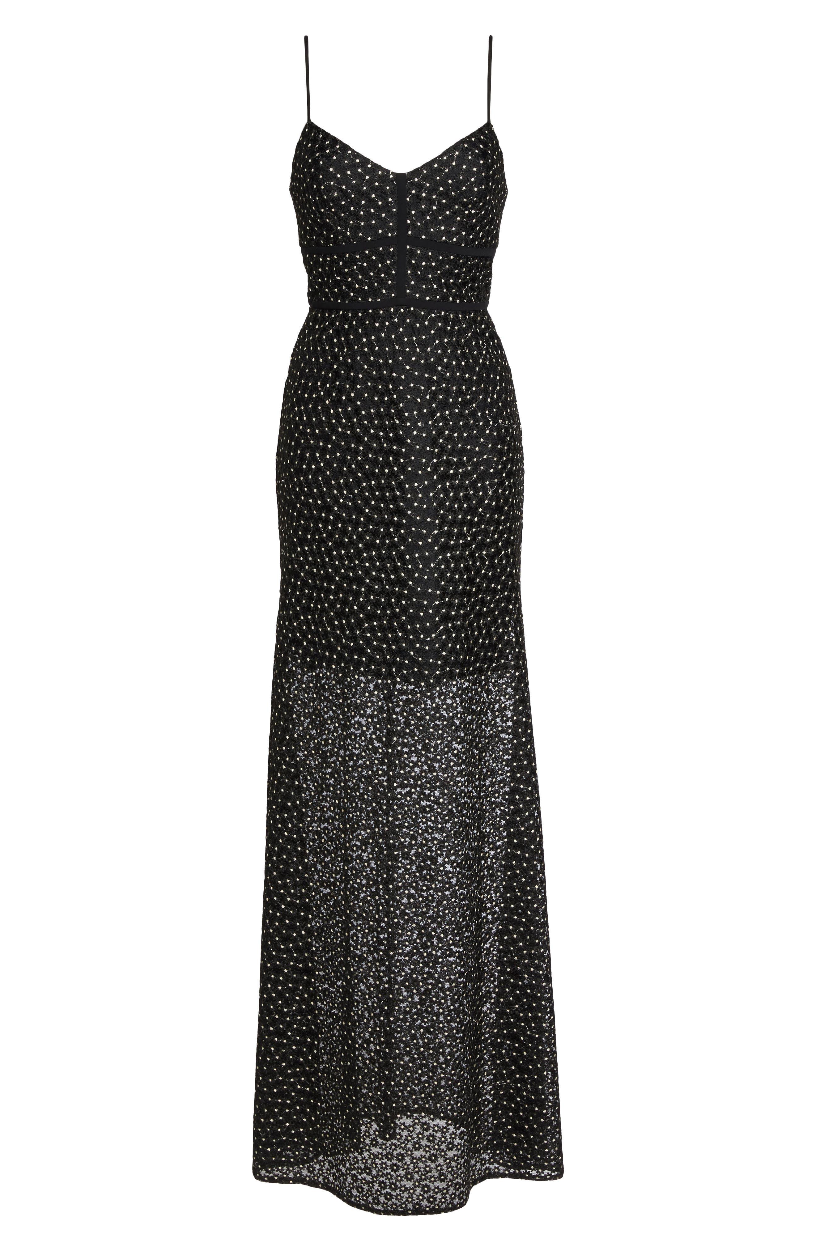 Floral Lace Crepe Gown,                             Alternate thumbnail 6, color,                             Black