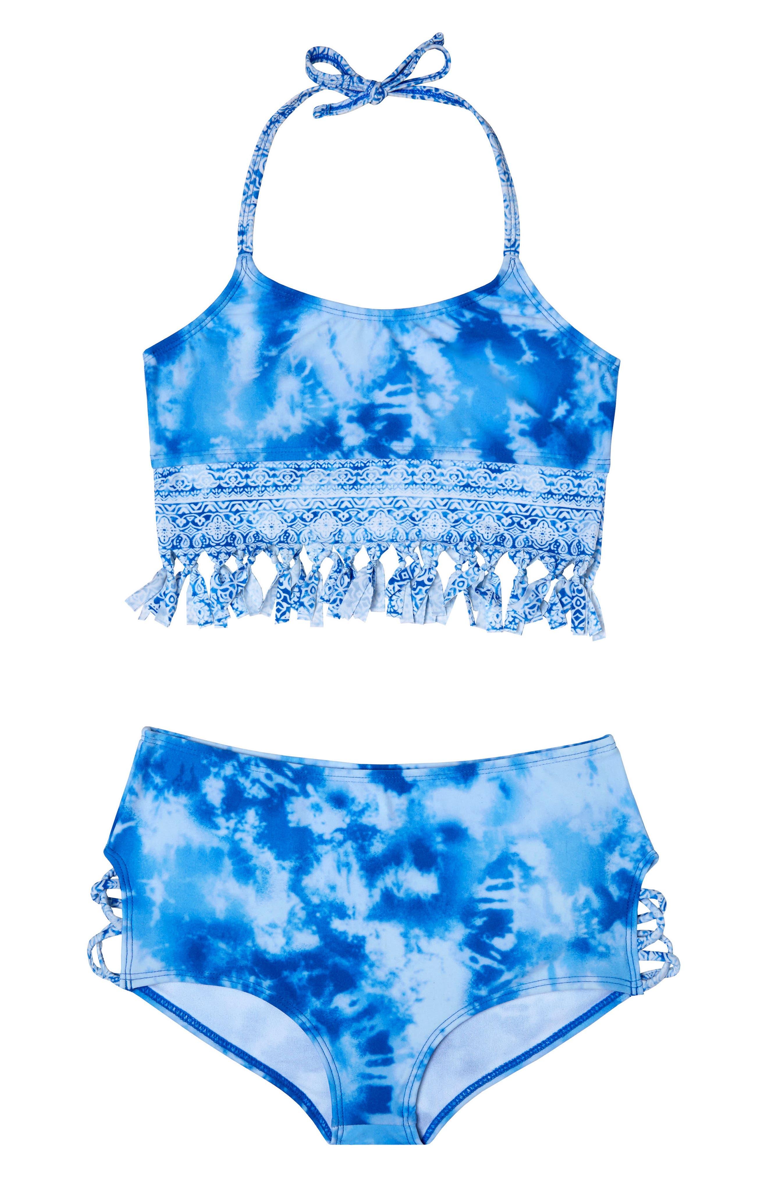 Main Image - Gossip Girl Jeans Addiction Two-Piece Swimsuit (Big Girls)