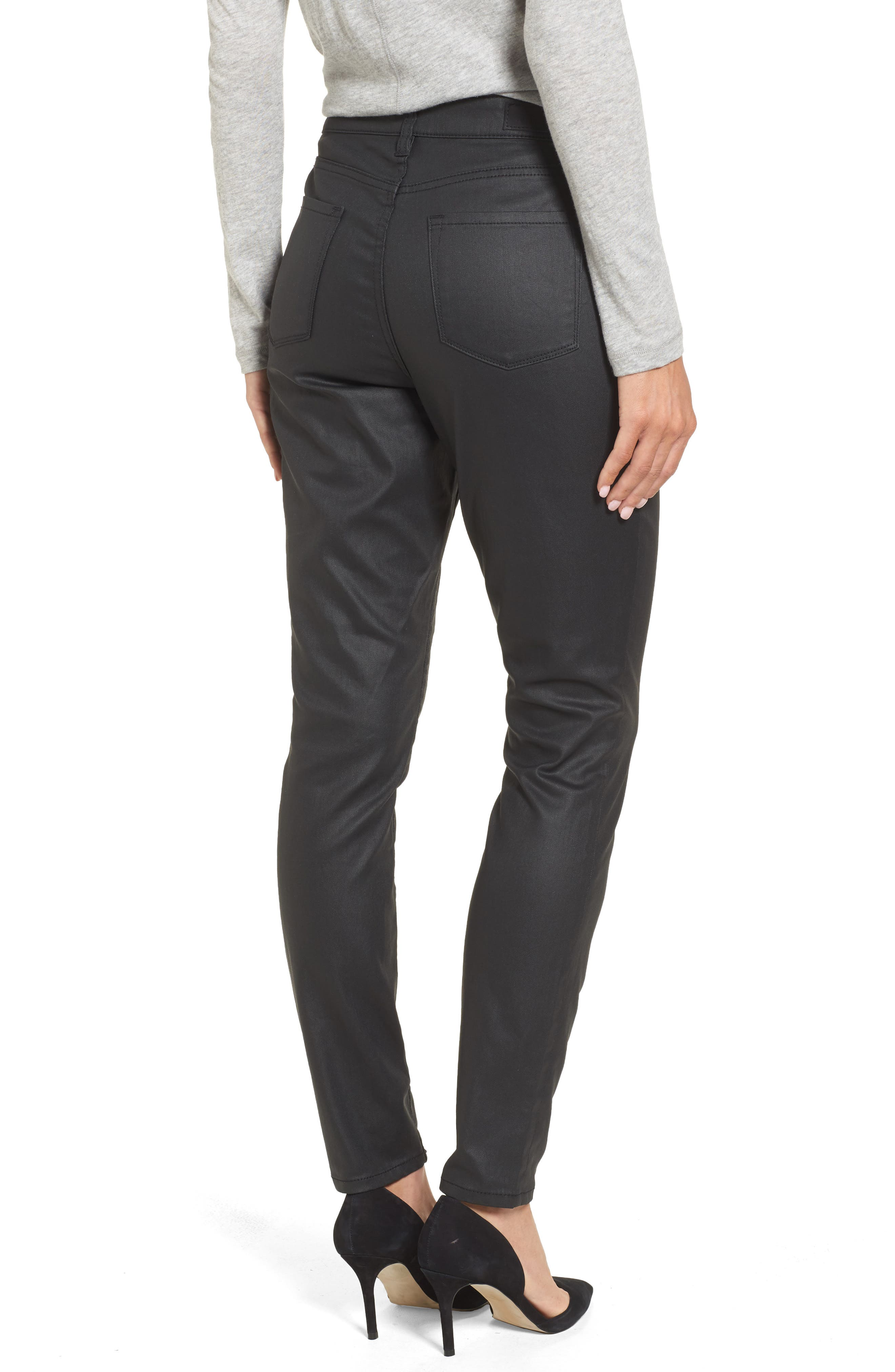 Coated Skinny Jeans,                             Alternate thumbnail 2, color,                             Black