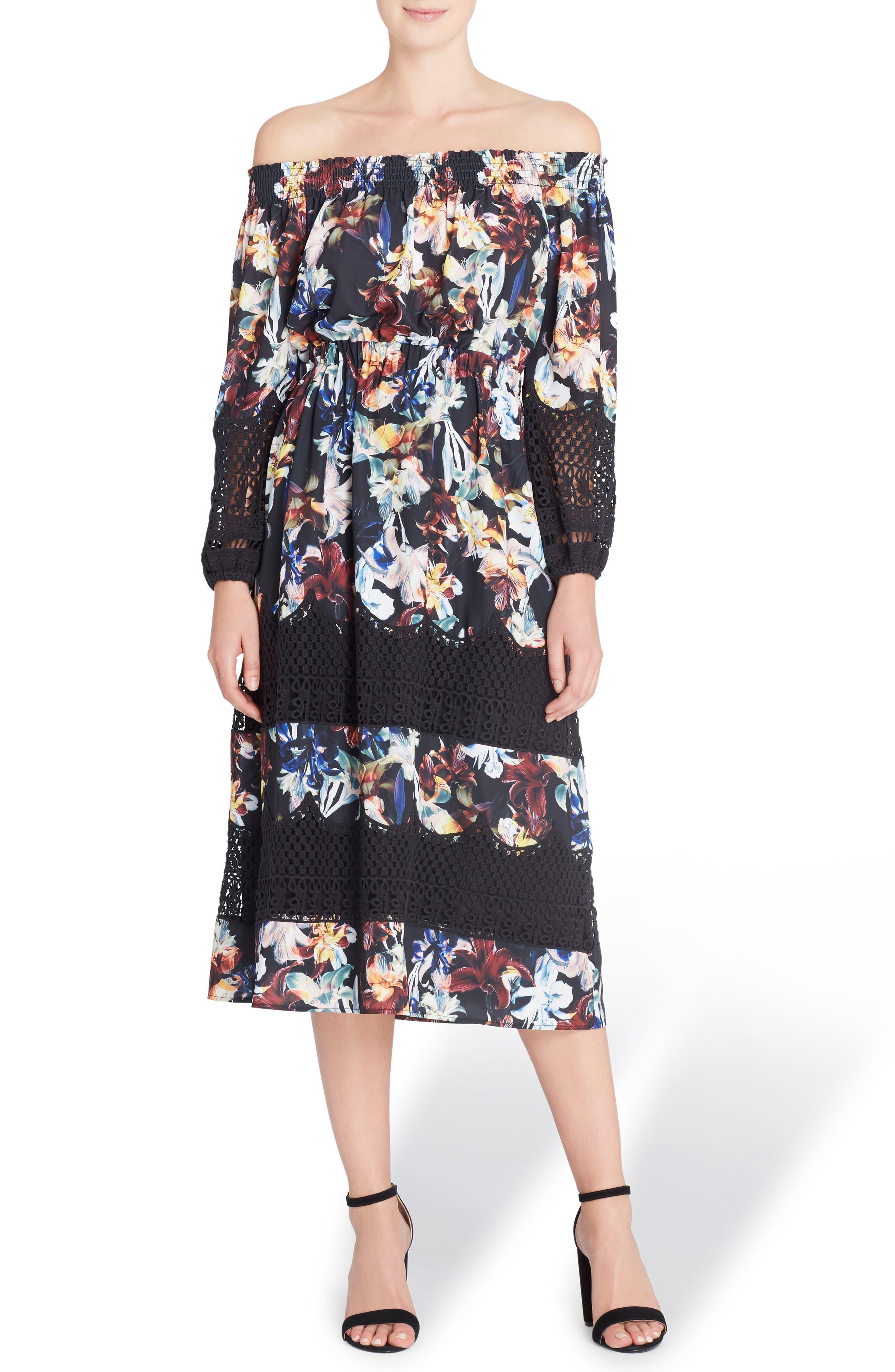 Catherine Catherine Malandrino Olive Off the Shoulder Midi Dress