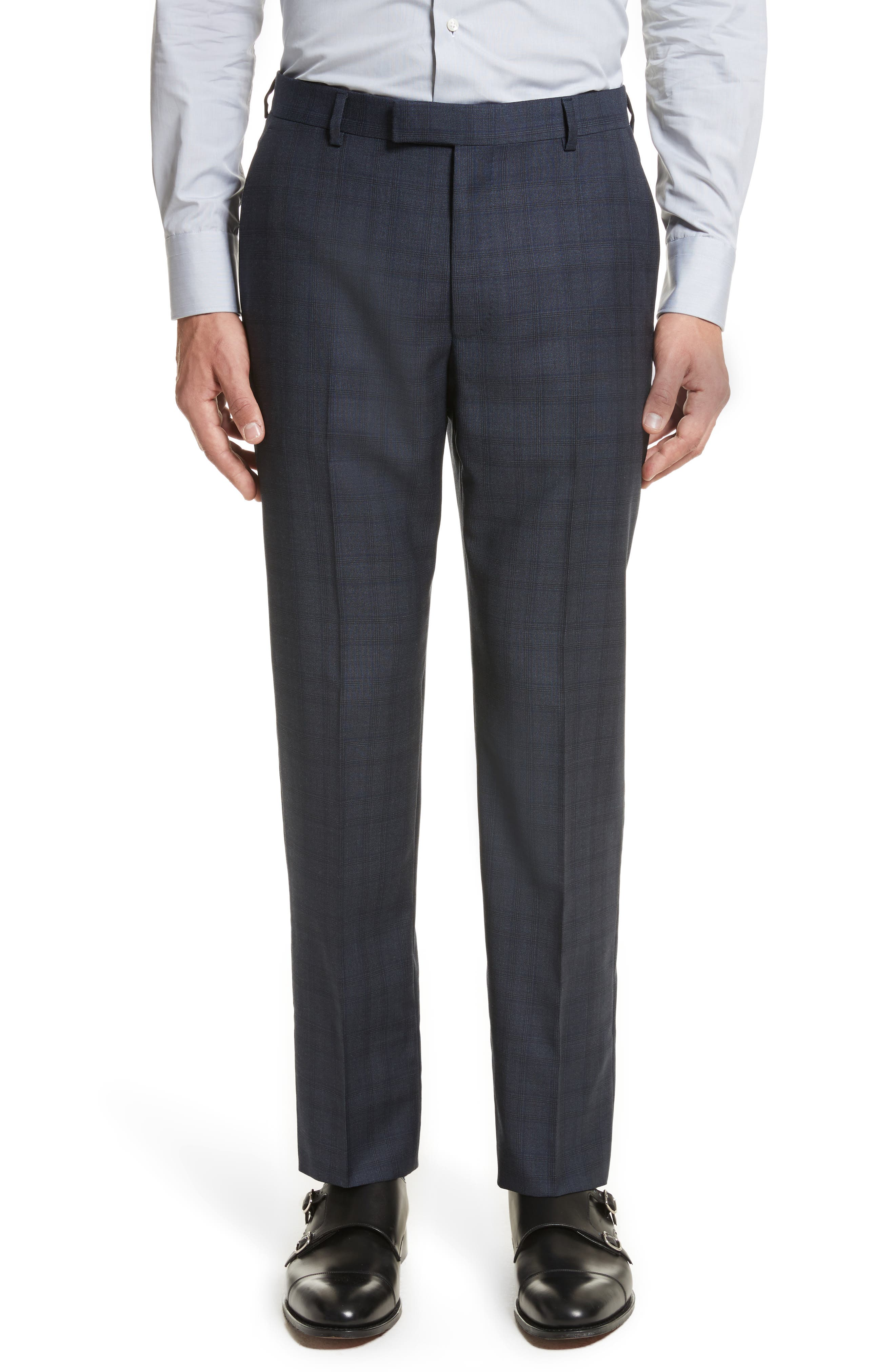 Classic Fit Check Wool Suit,                             Alternate thumbnail 6, color,                             Navy Check