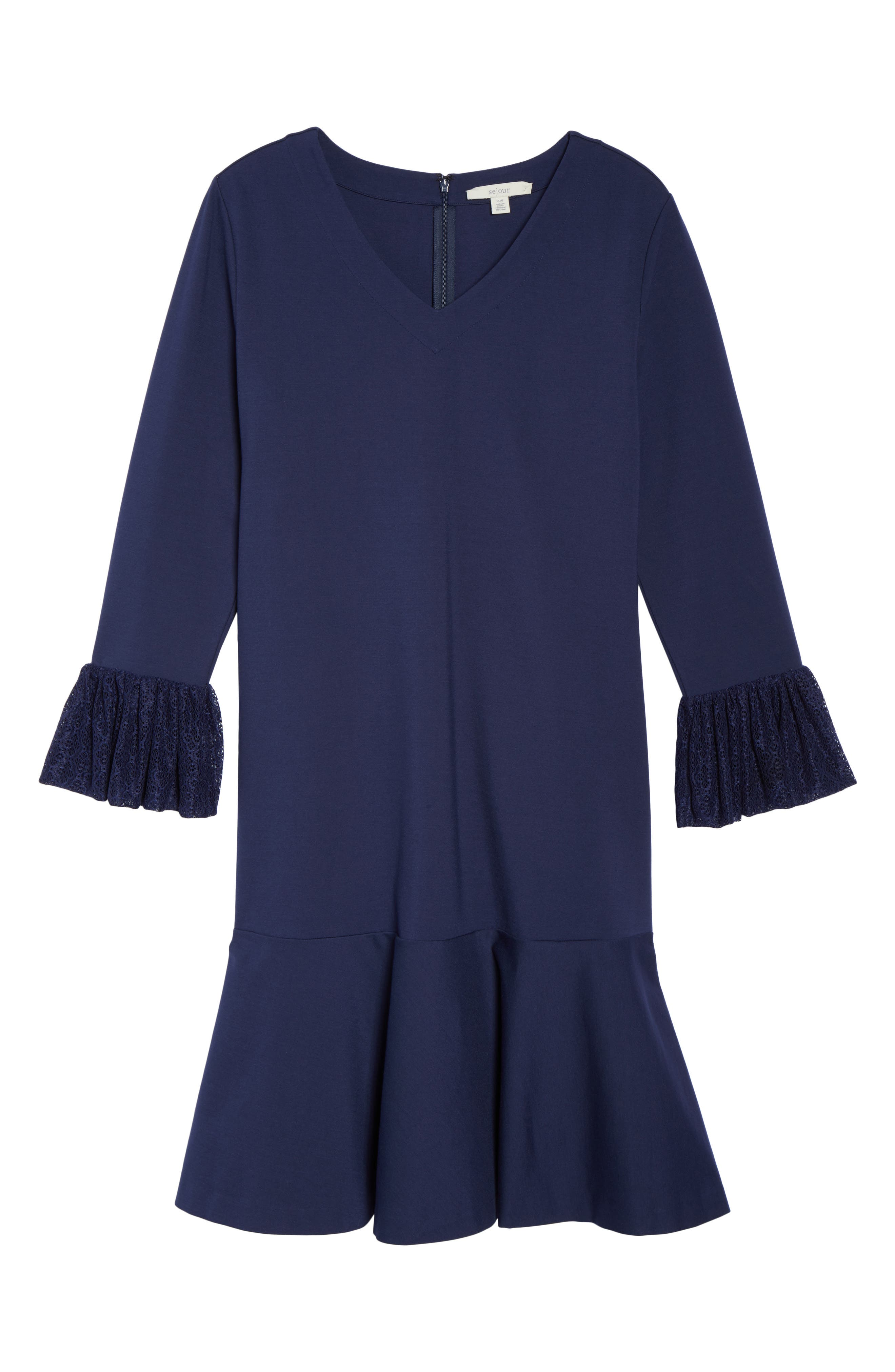 Alternate Image 6  - Sejour Flounce Hem Dress (Plus Size)