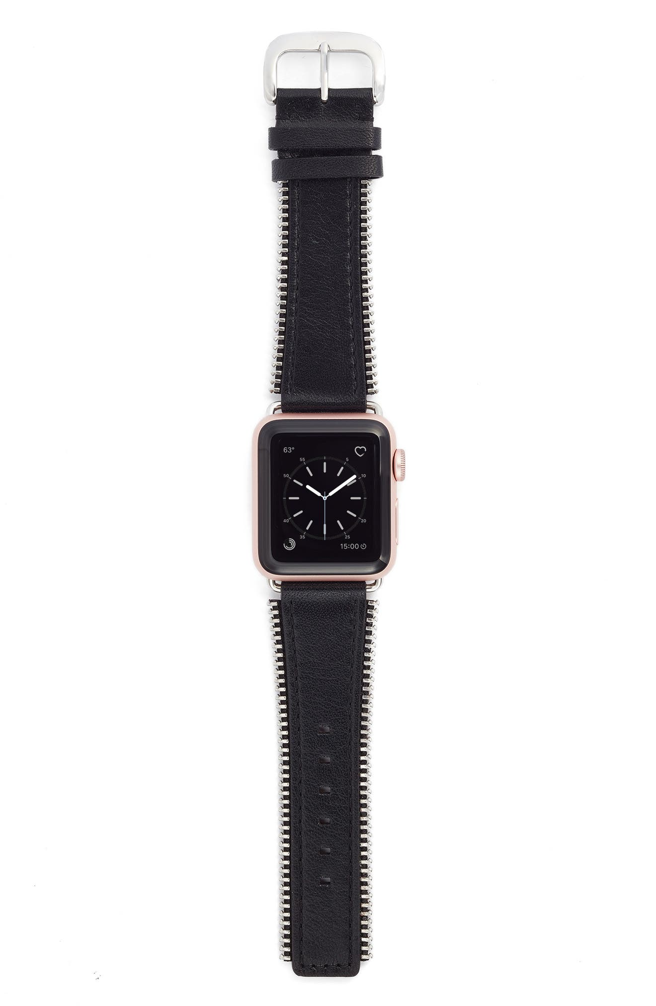 Bezels & Bytes Zip Teeth Leather Apple Watch Strap, 38mm,                             Main thumbnail 1, color,                             Silver/ Black