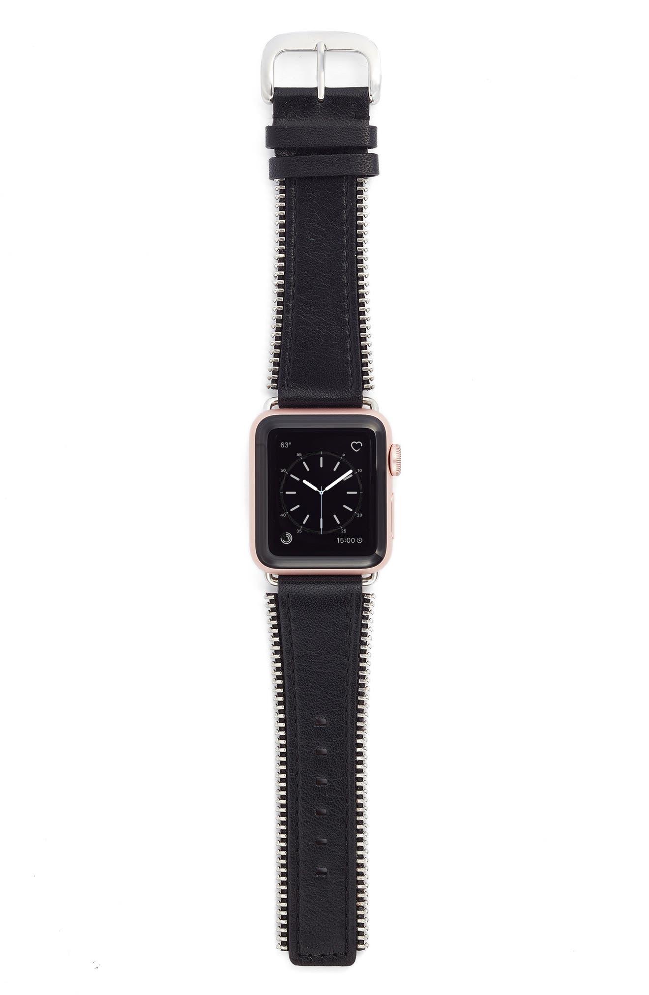 Main Image - Bezels & Bytes Zip Teeth Leather Apple Watch Strap, 38mm