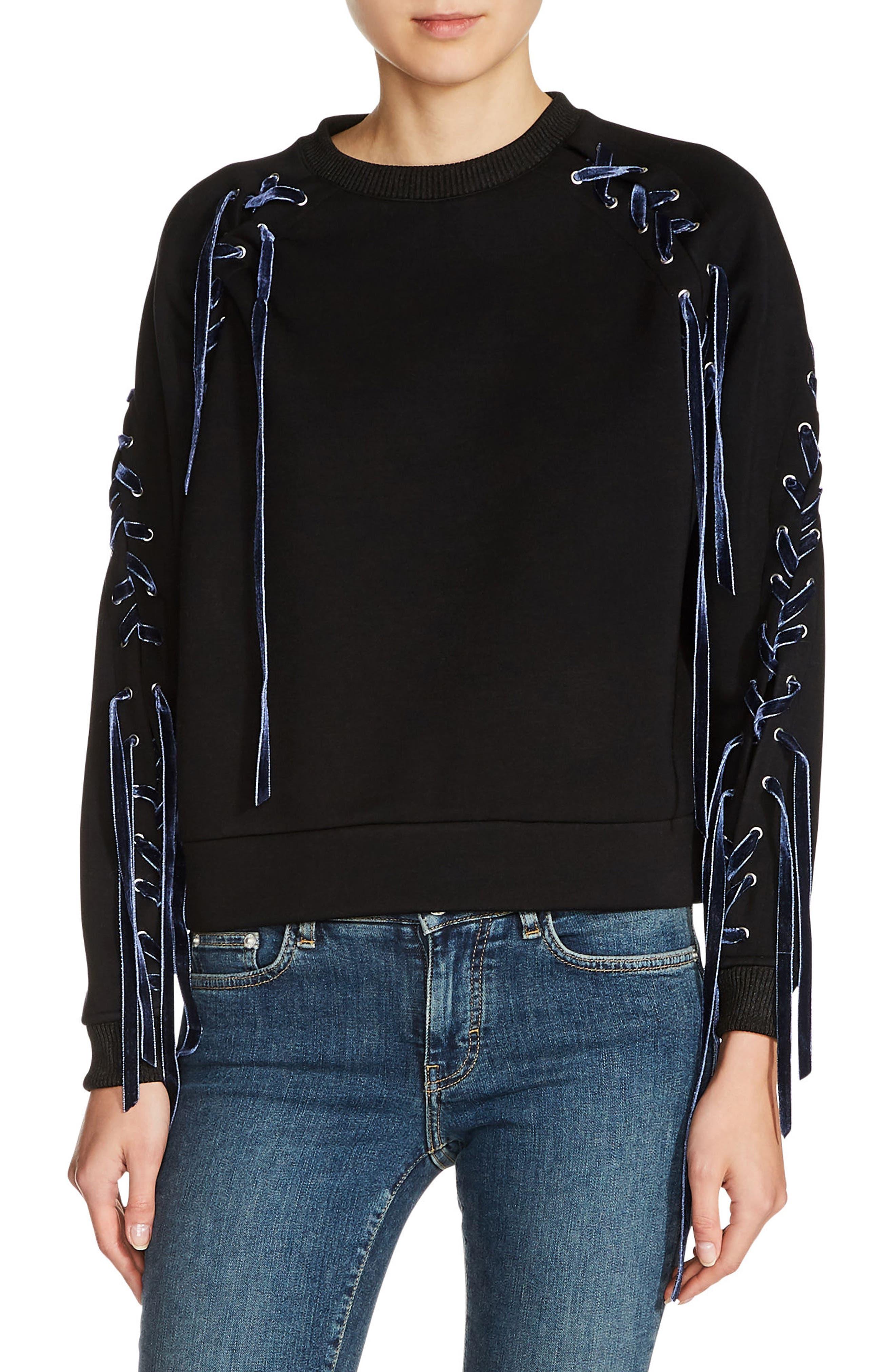 maje Lace-Up Sweatshirt