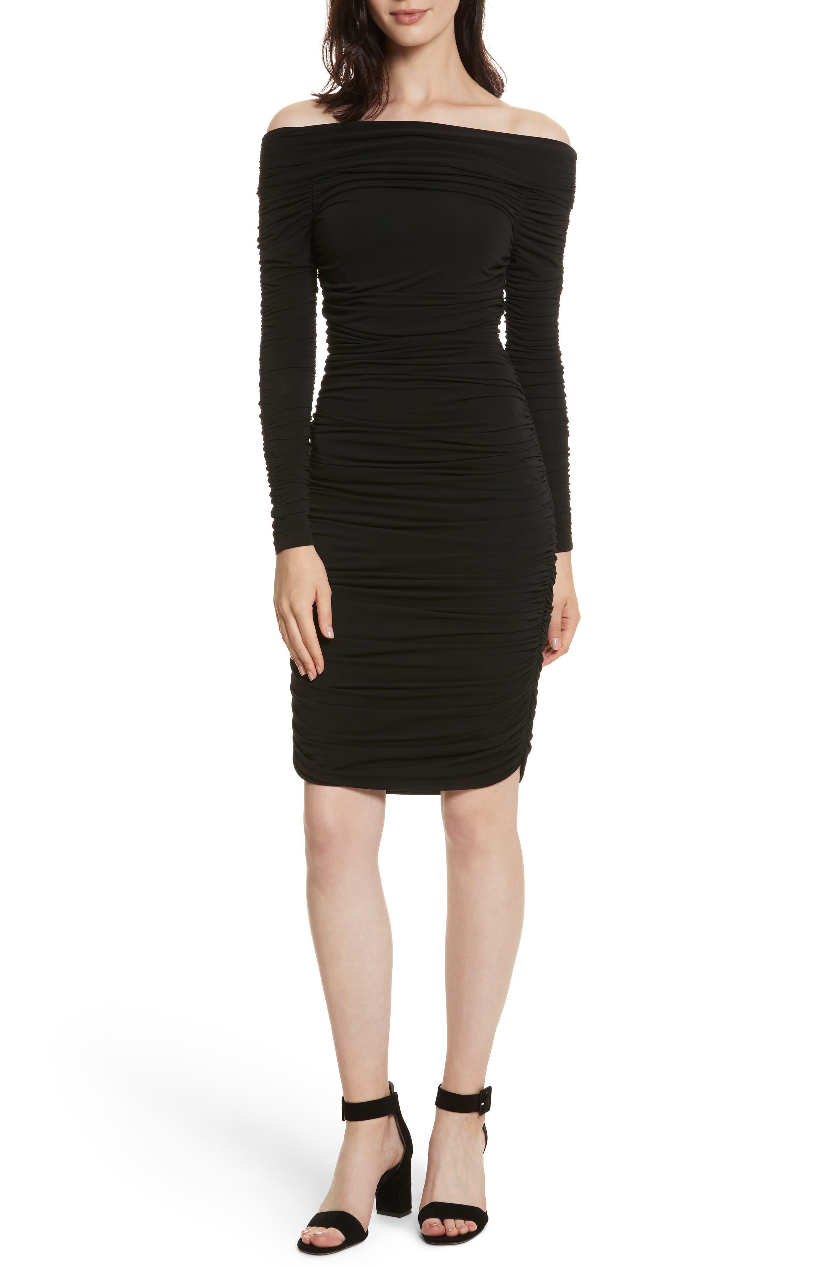 Blaise Off the Shoulder Ruched Dress,                             Main thumbnail 1, color,                             Black