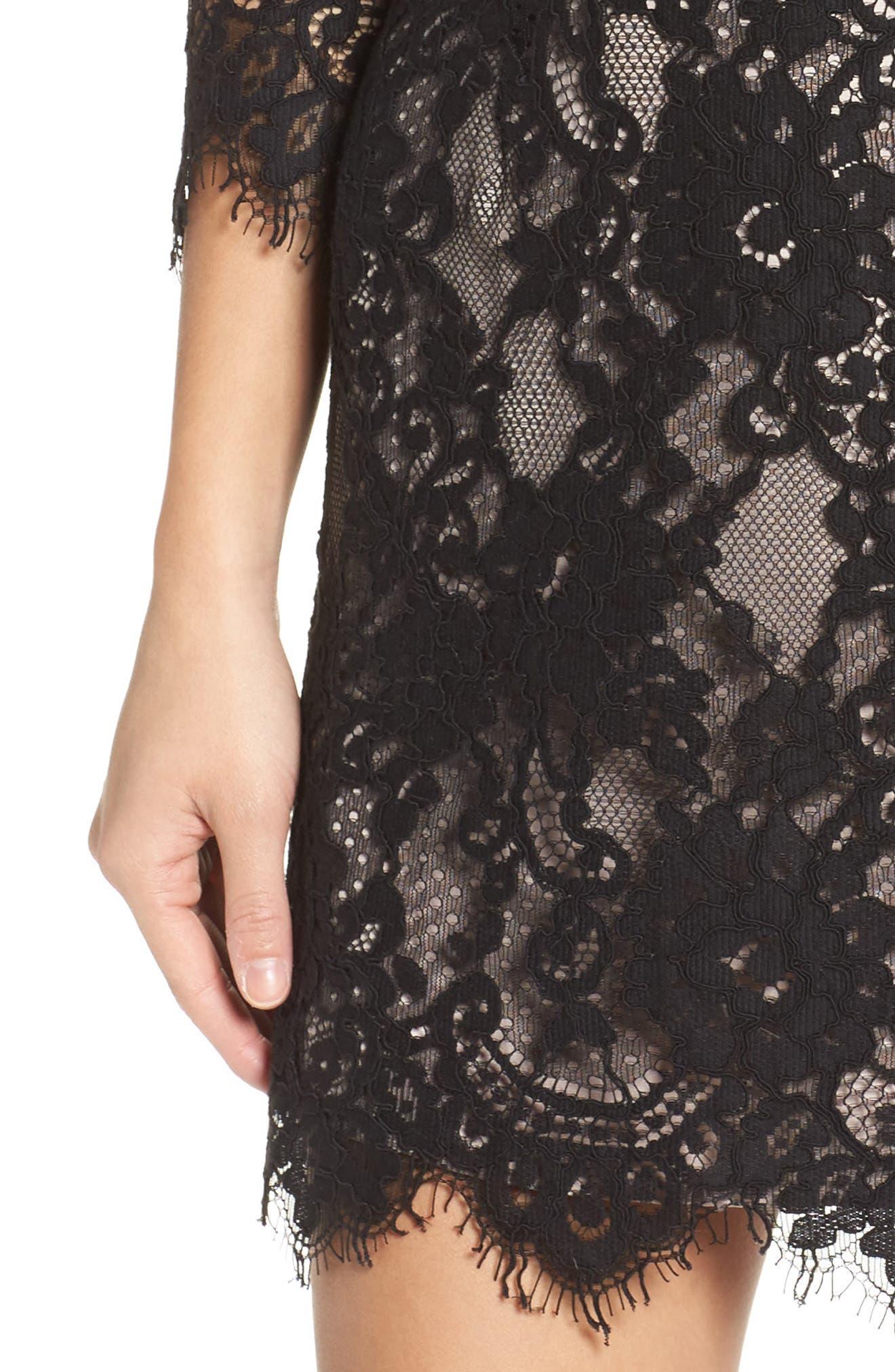 Hale Lace Sheath Dress,                             Alternate thumbnail 4, color,                             Black