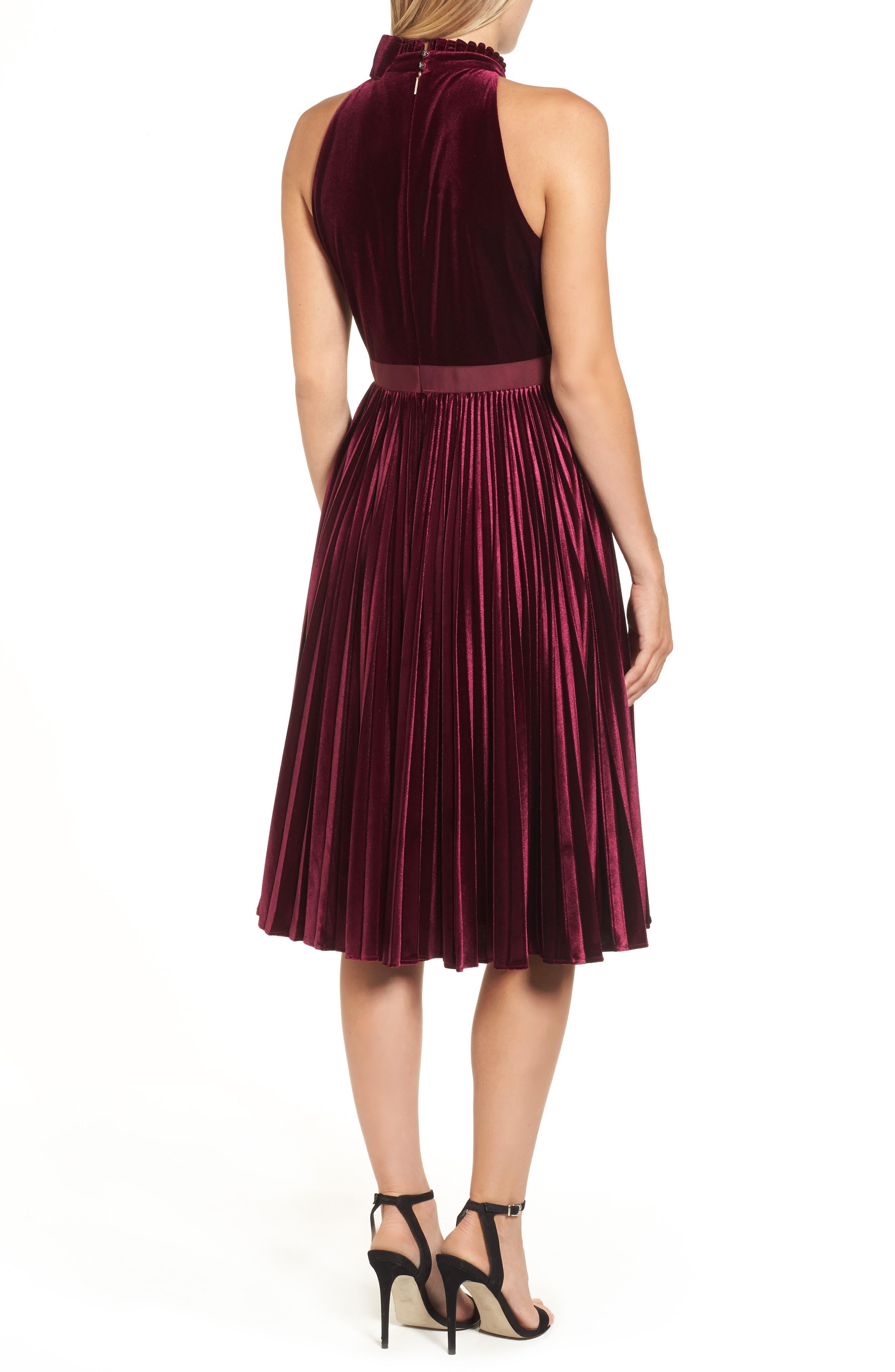 Cornela Pleated Velvet Dress,                             Alternate thumbnail 2, color,                             Oxblood