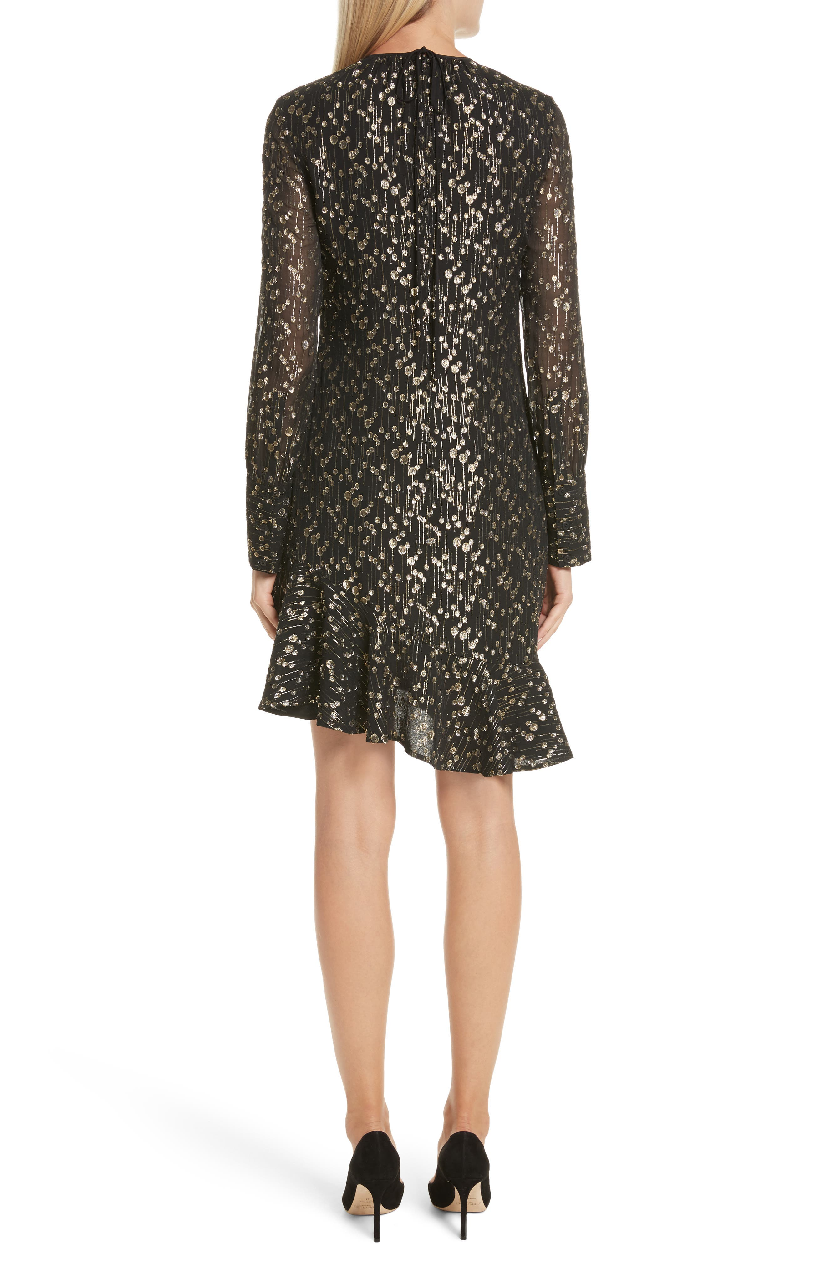 Metallic Dot Asymmetrical Ruffle Dress,                             Alternate thumbnail 2, color,                             Black
