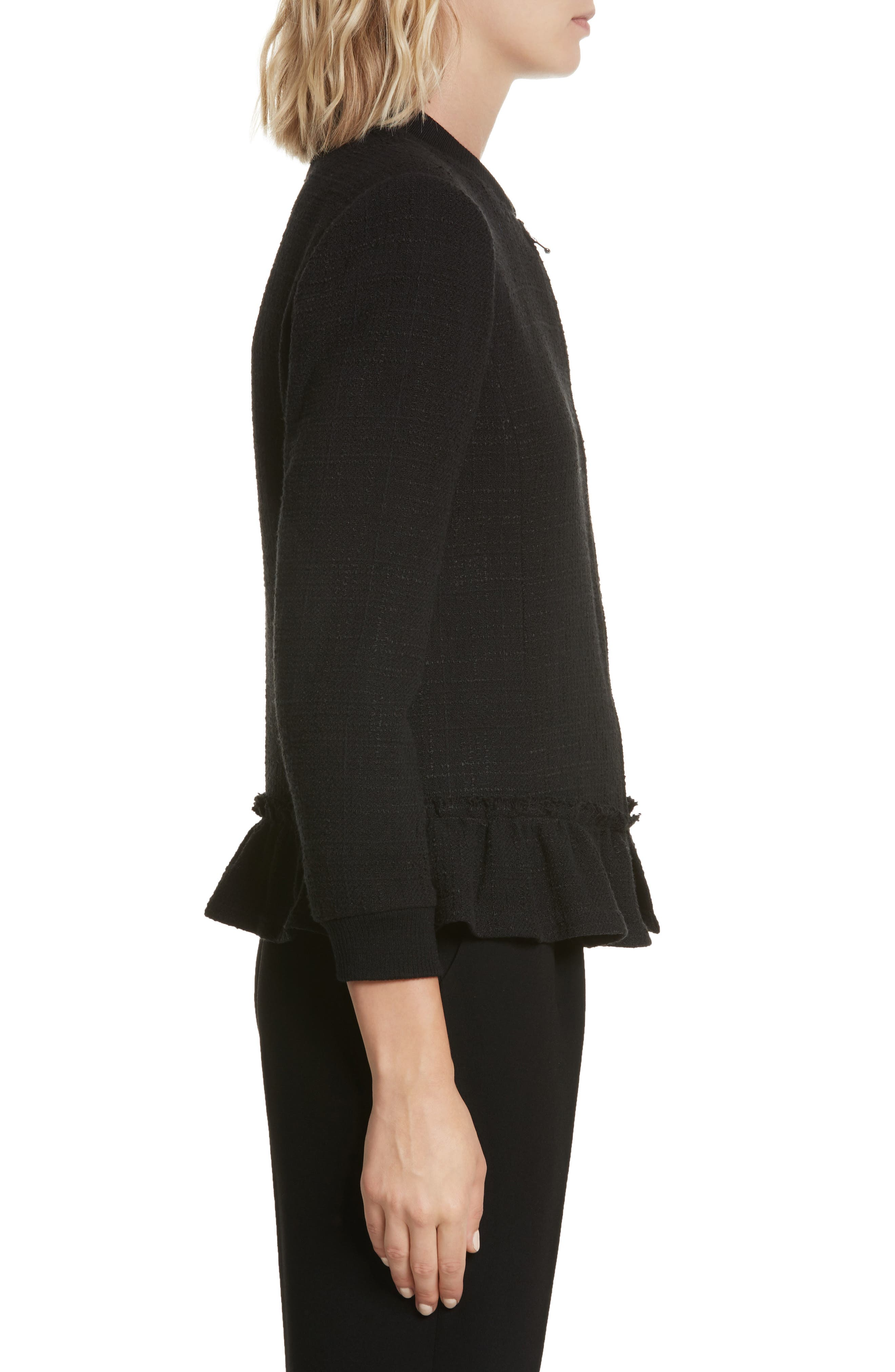 Textured Tweed Jacket,                             Alternate thumbnail 4, color,                             Black