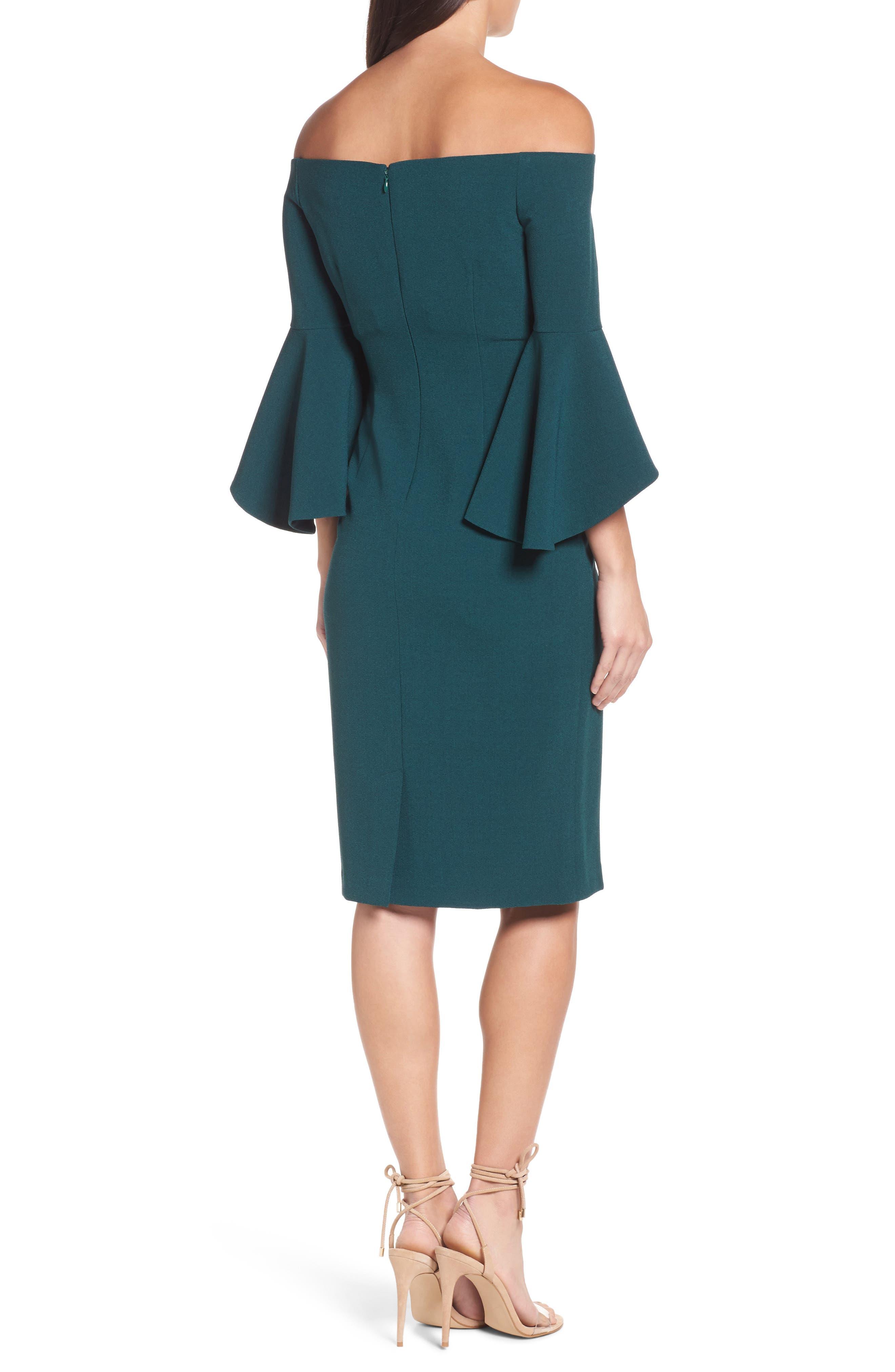 Off the Shoulder Dress,                             Alternate thumbnail 2, color,                             Green Botanical
