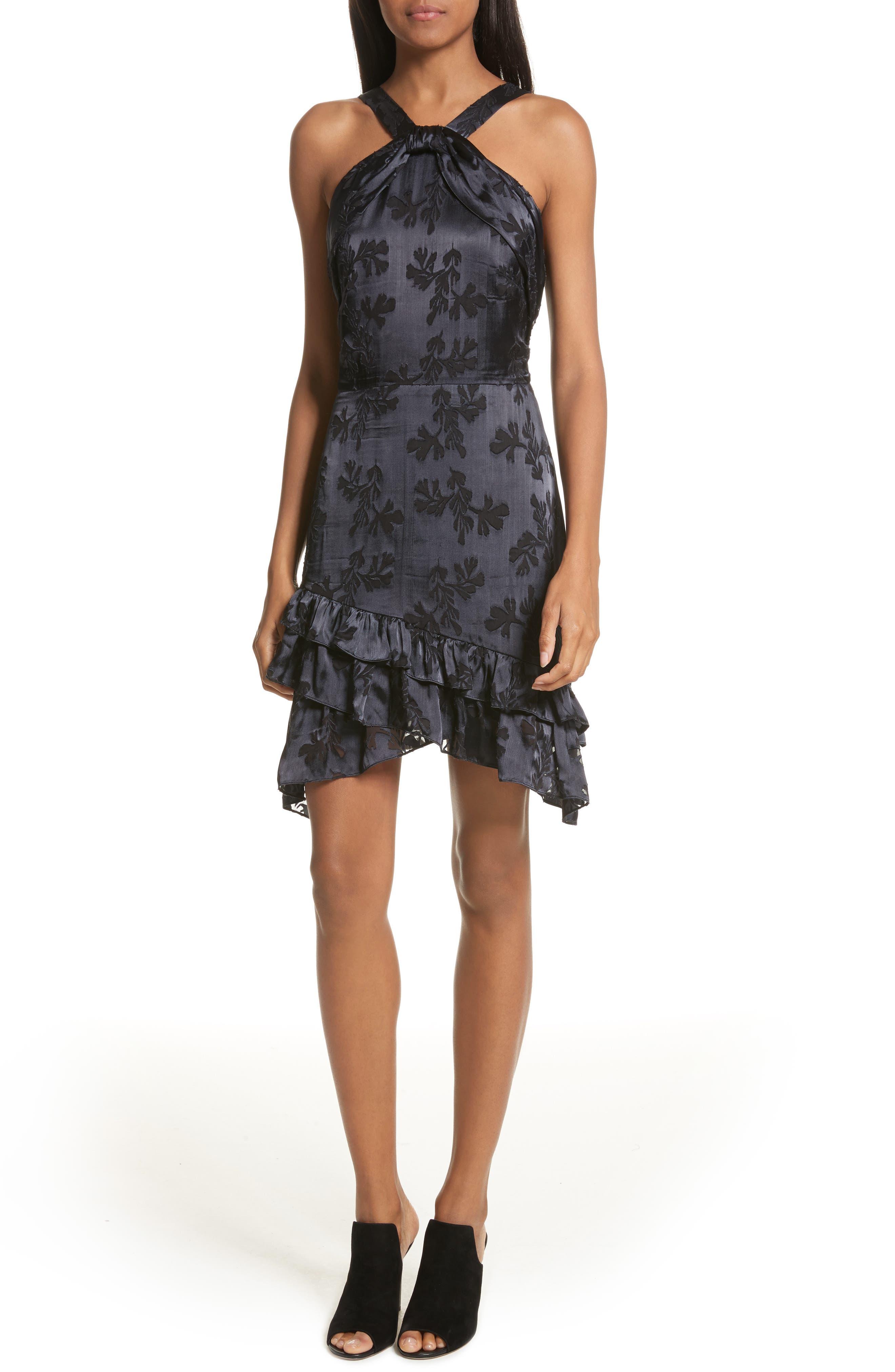 SALONI Burnout Silk Satin Dress