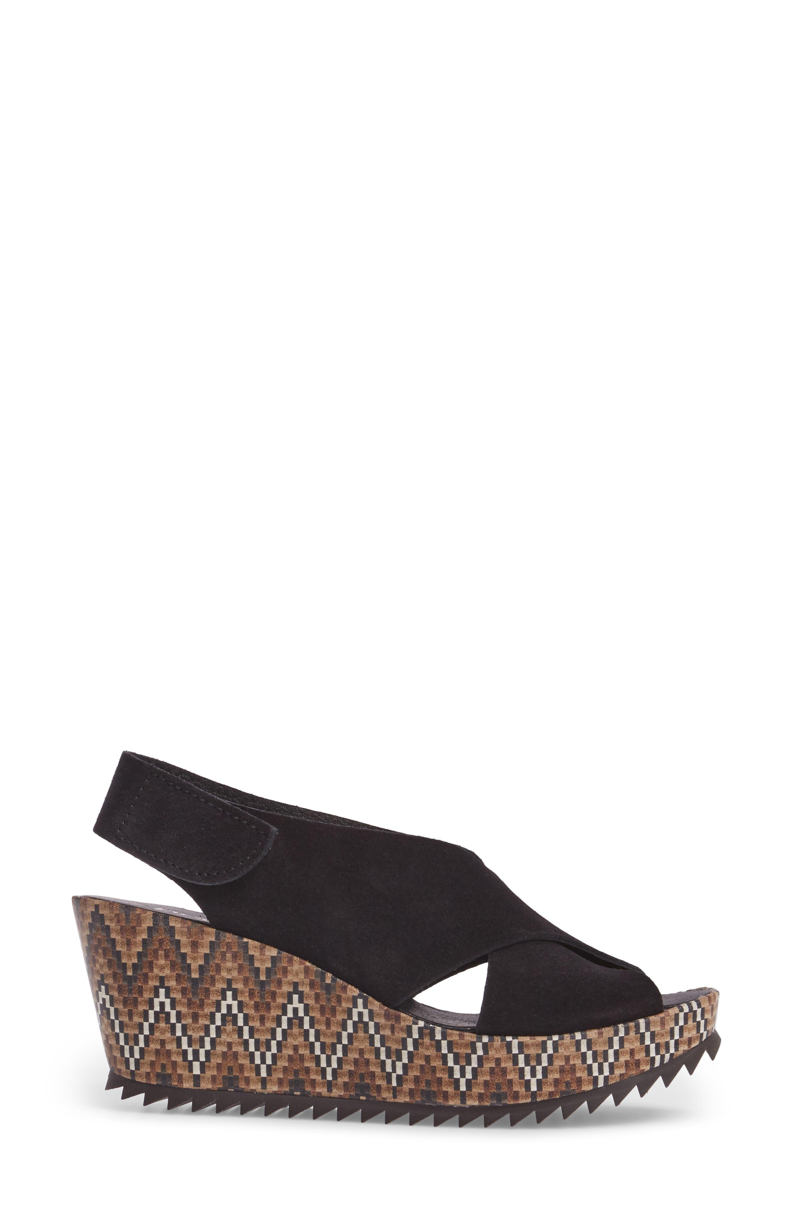 'Federica' Wedge Sandal,                             Alternate thumbnail 3, color,                             Black Castoro