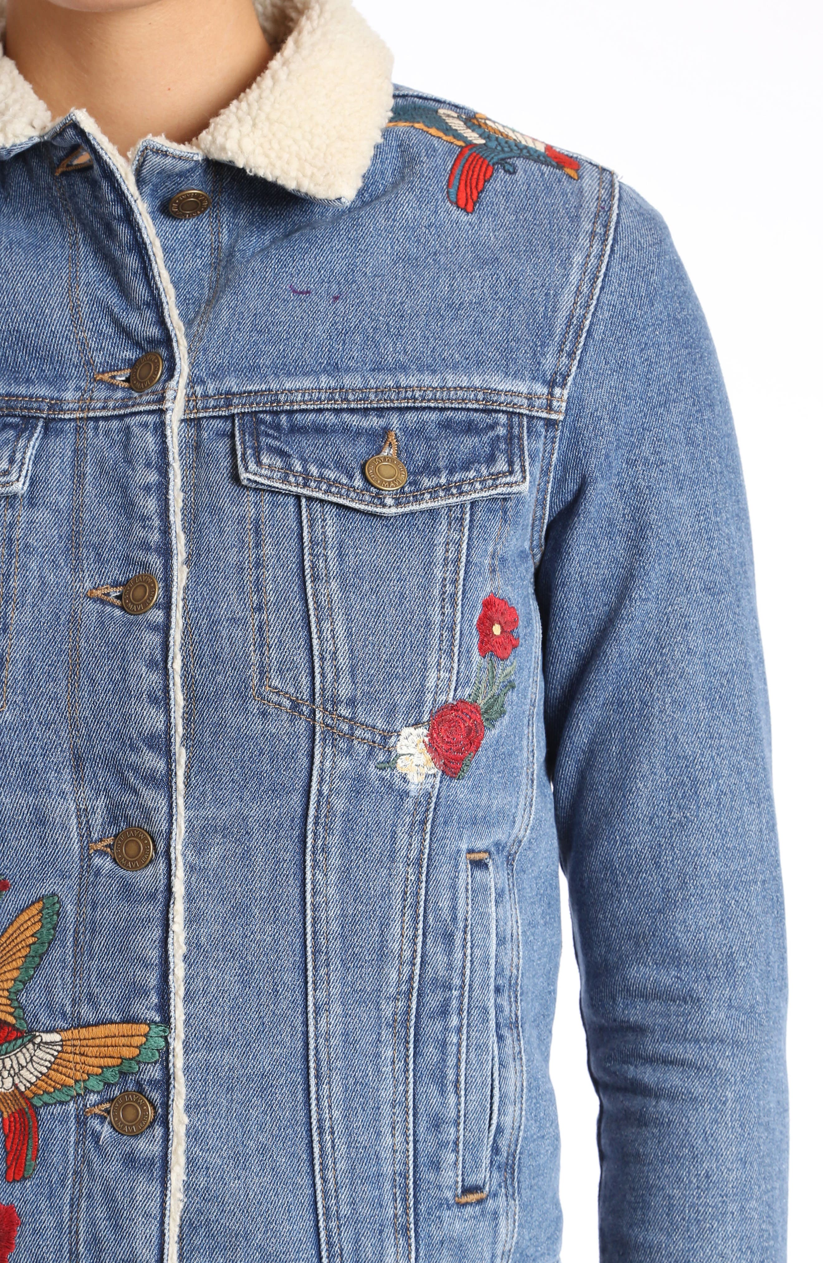 Katy Embroidered Denim Jacket,                             Alternate thumbnail 3, color,                             Mid Garden Embroidery