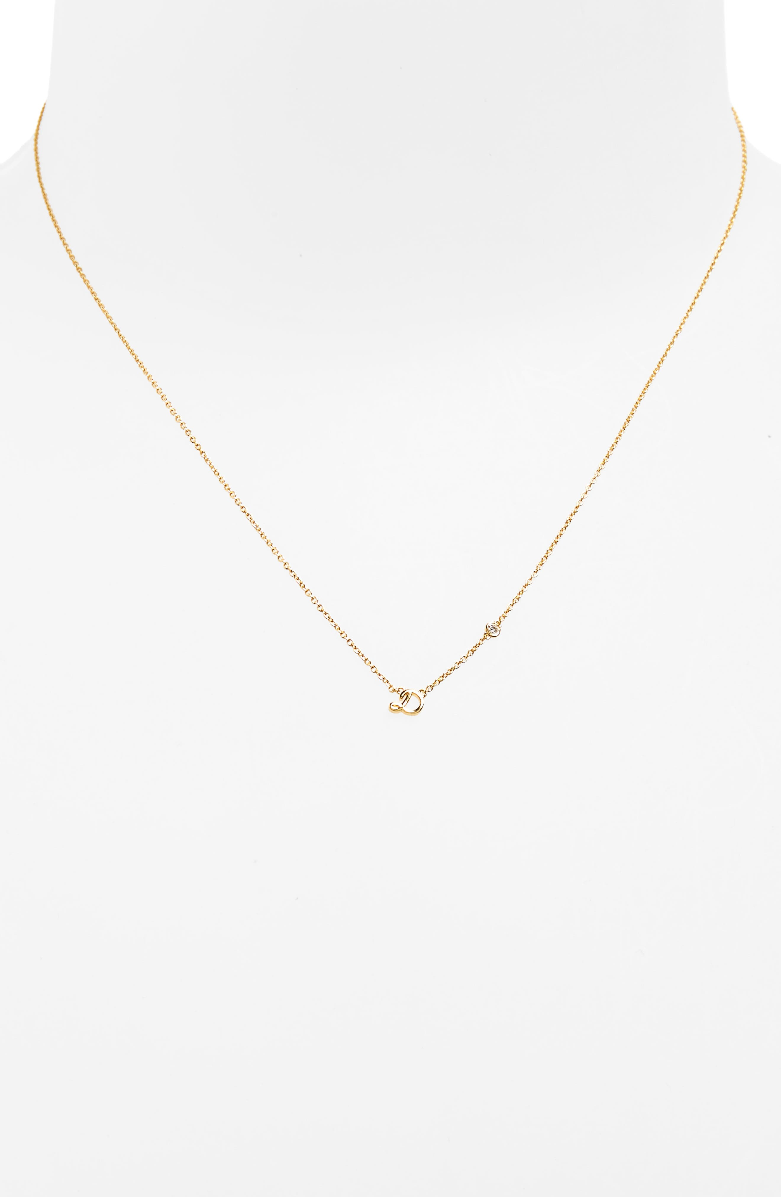 Alternate Image 2  - Shy by SE Diamond Initial Pendant Necklace