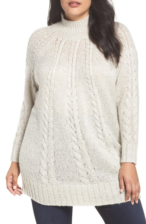 Caslon® Cable Knit Tunic Sweater (Plus Size)   Nordstrom