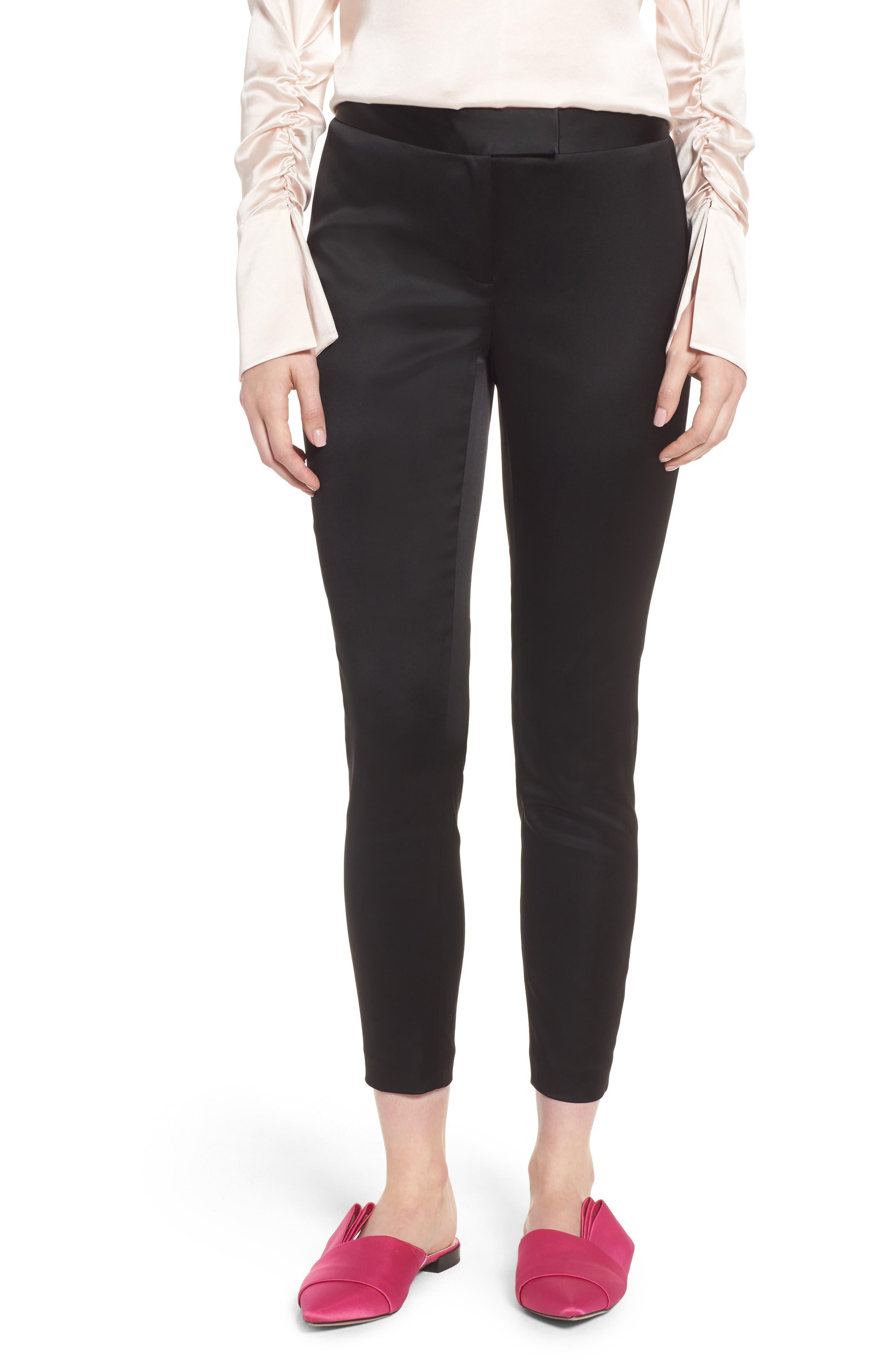 Stretch Satin Skinny Trousers,                             Main thumbnail 1, color,                             Black