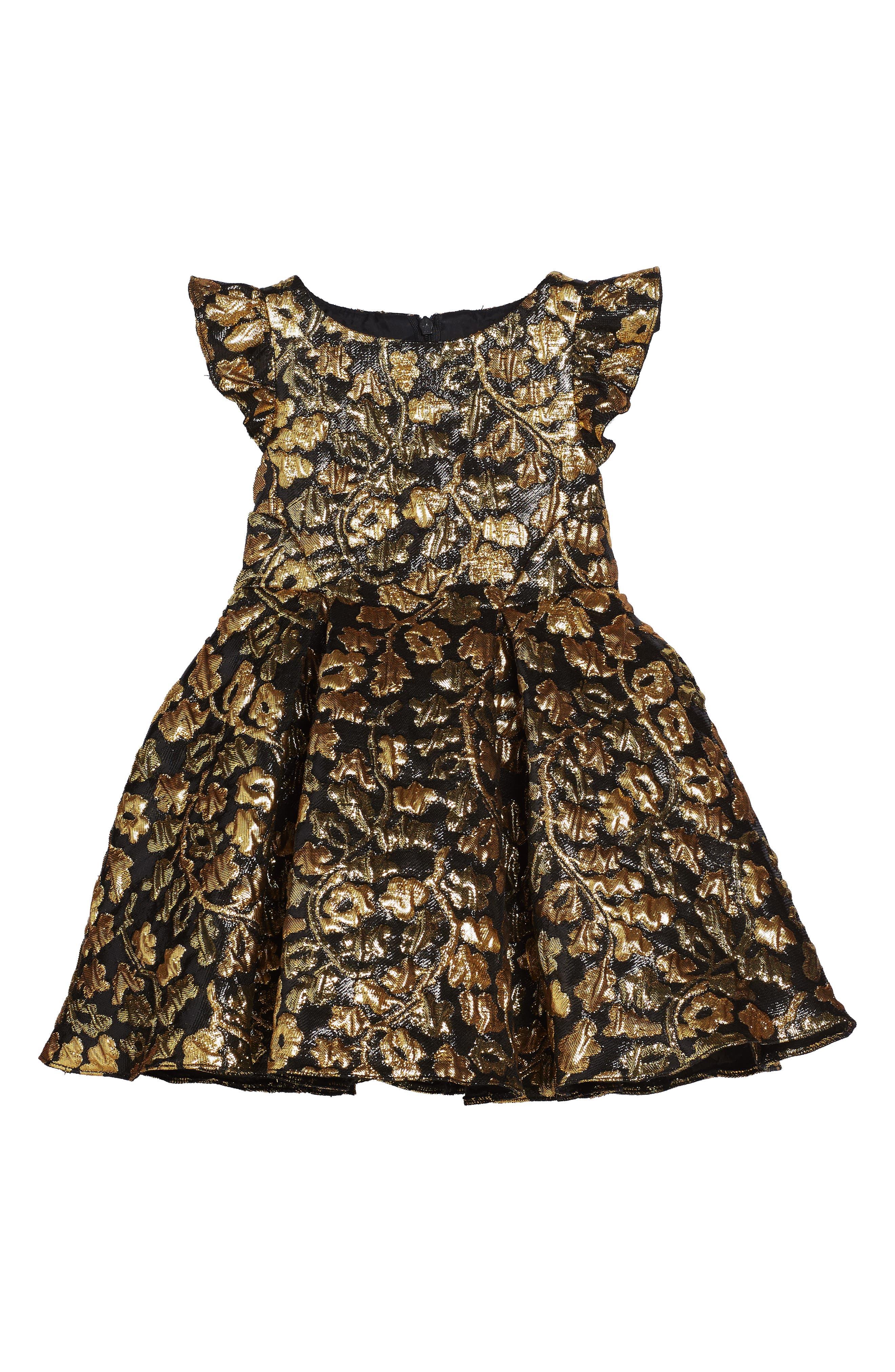 David Charles Flutter Sleeve Brocade Dress (Toddler Girls & Little Girls)