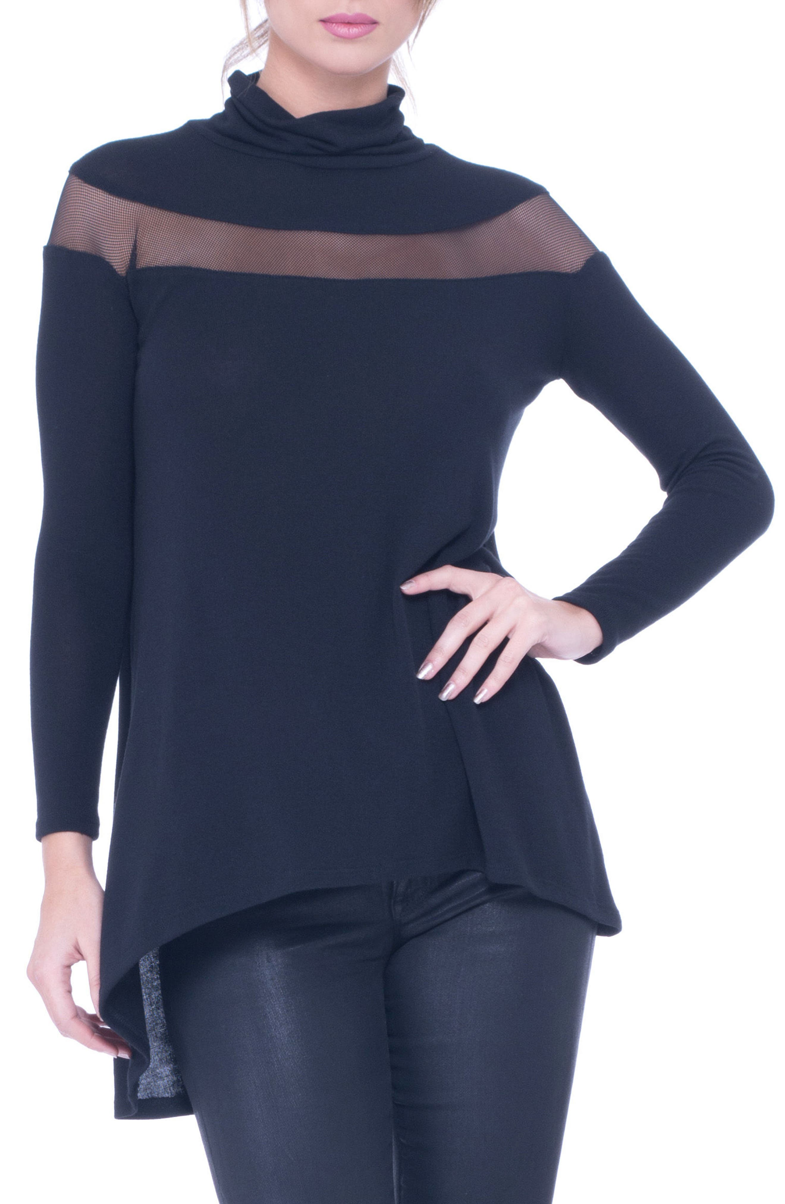 Main Image - Olian Mesh Trim High/Low Maternity Top