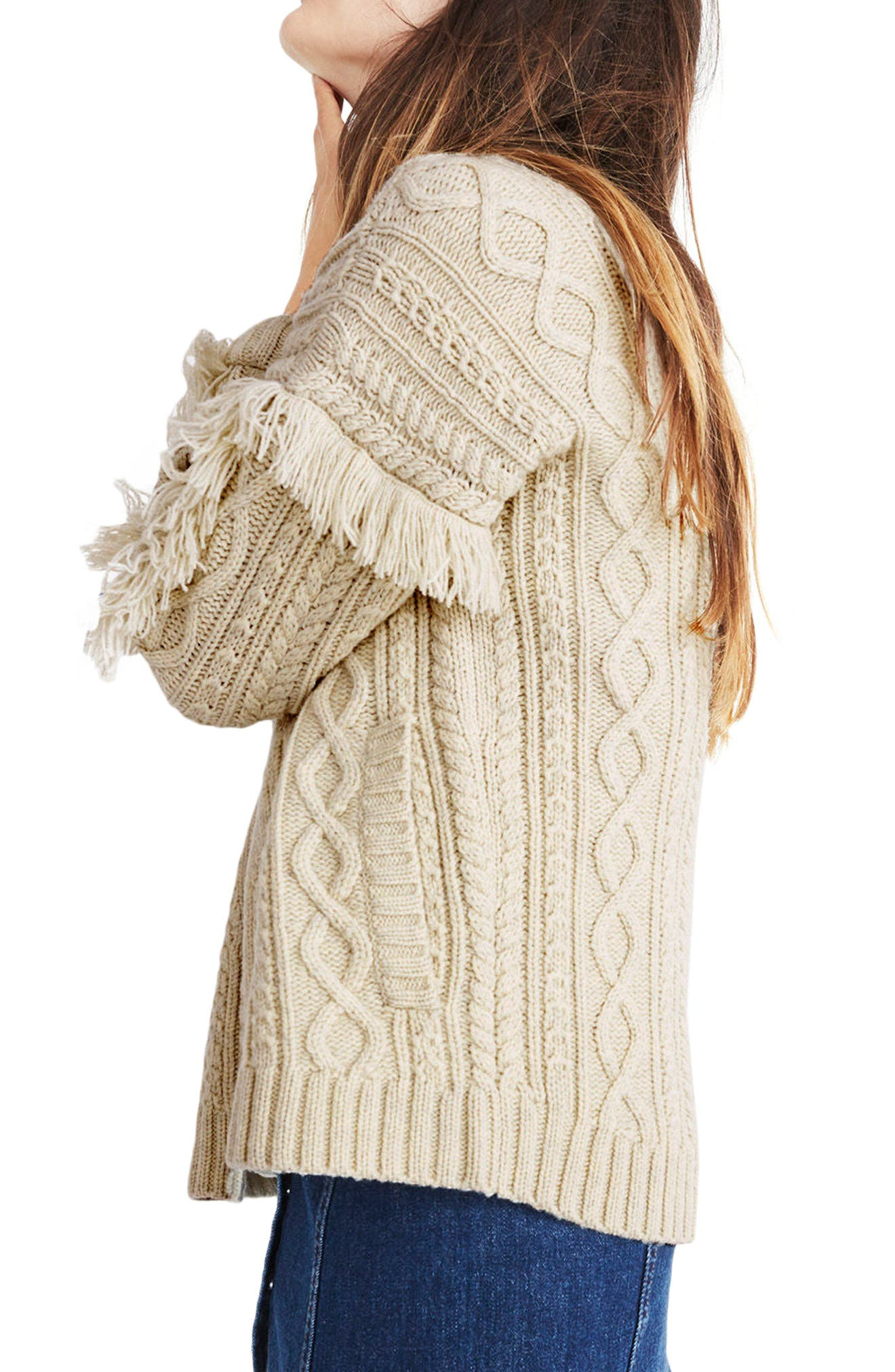 Fringe Cable Knit Wool Cardigan,                             Alternate thumbnail 2, color,                             Heather Fog