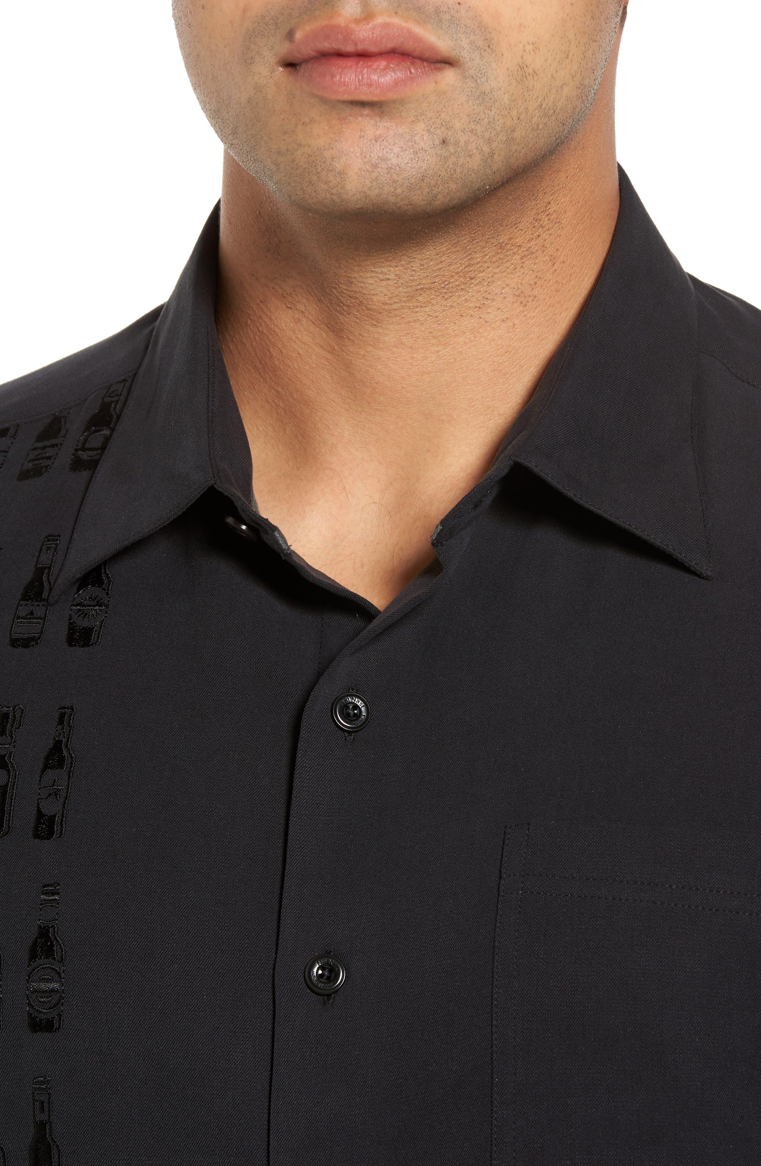 Summit Regular Fit Embroidered Silk Blend Sport Shirt,                             Alternate thumbnail 4, color,                             Black