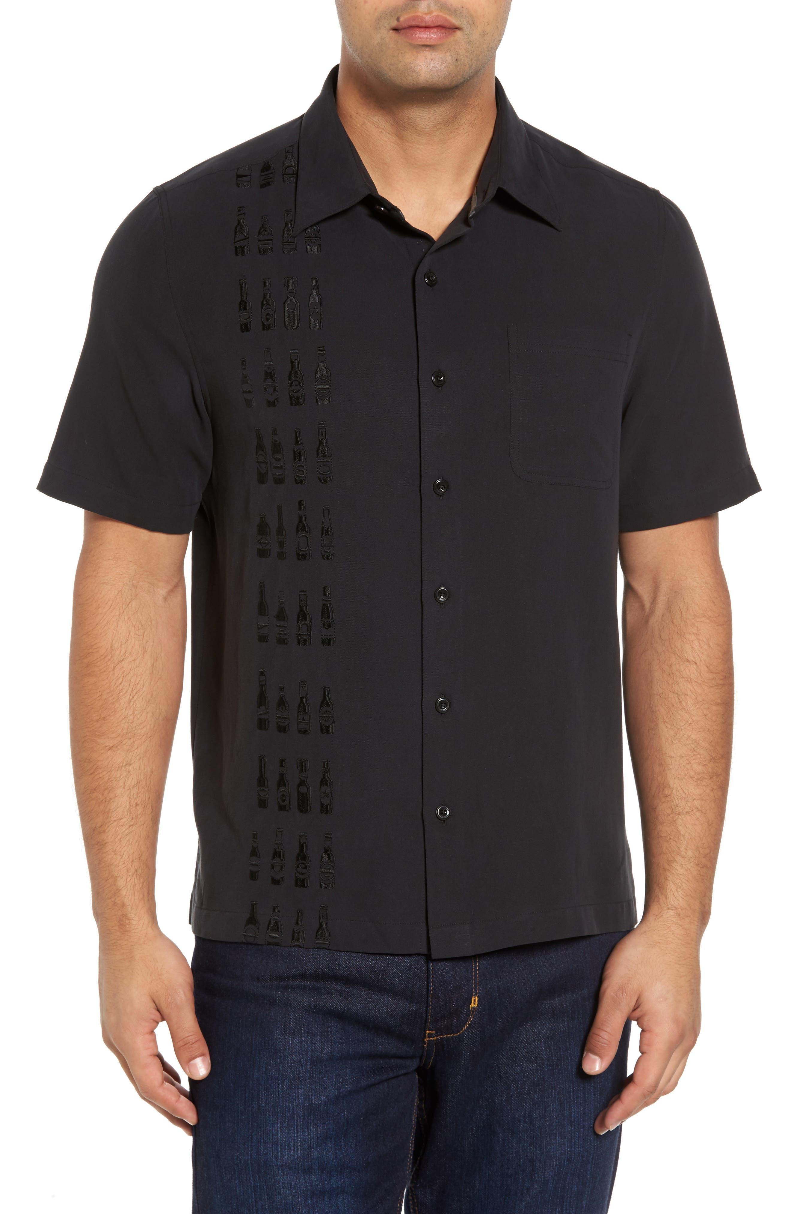 Summit Regular Fit Embroidered Silk Blend Sport Shirt,                         Main,                         color, Black