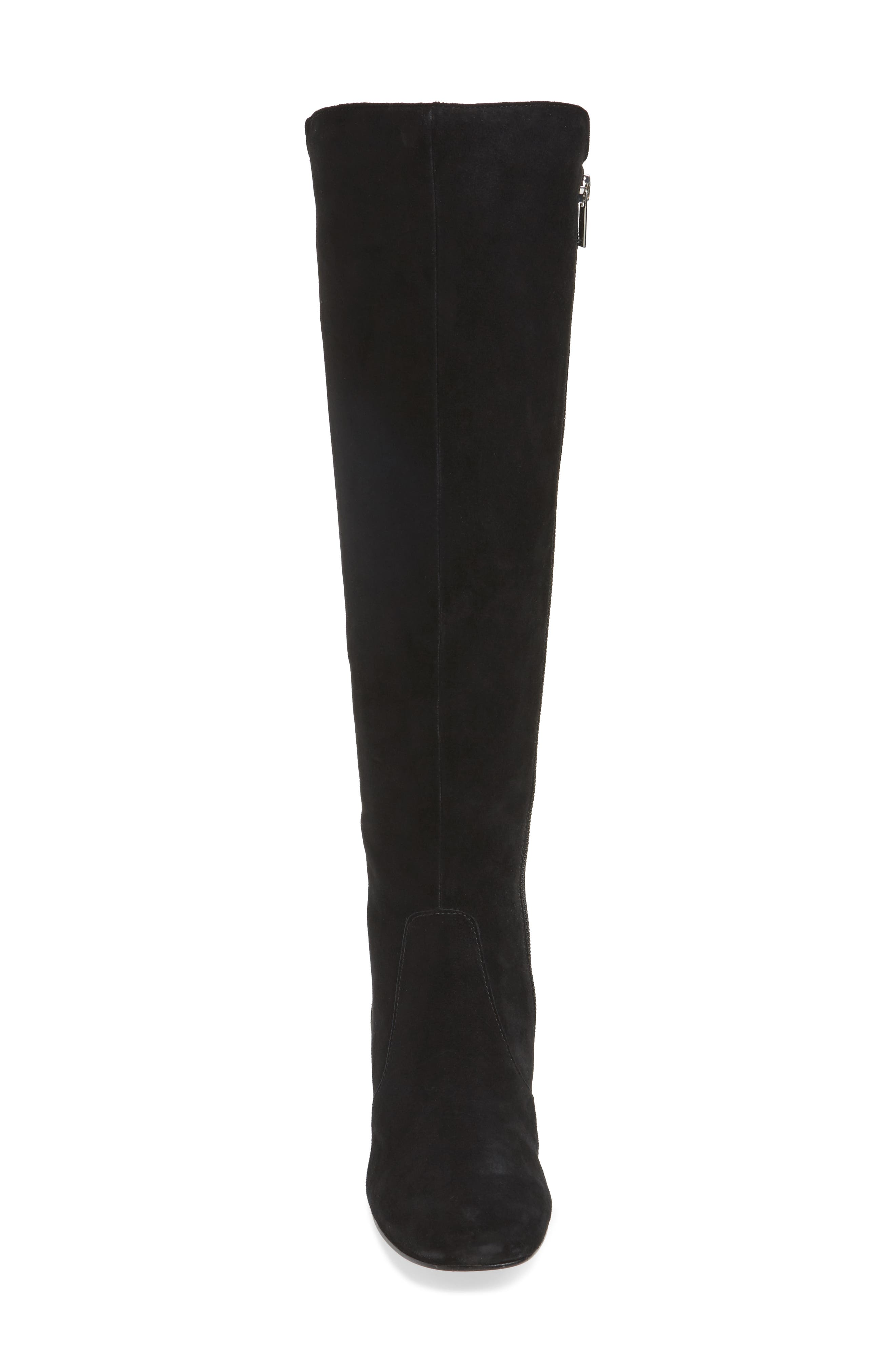 Tawnna Knee High Boot,                             Alternate thumbnail 4, color,                             Black Suede
