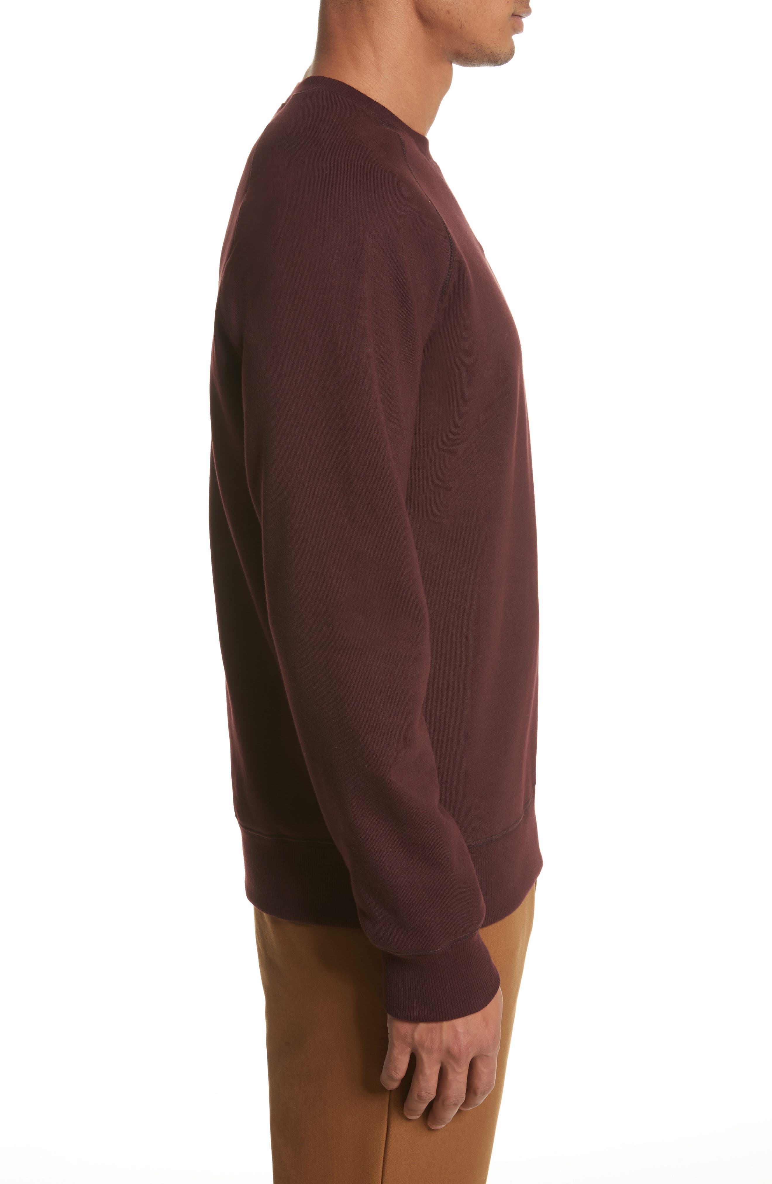Crewneck Sweatshirt,                             Alternate thumbnail 3, color,                             Damson/ Gold