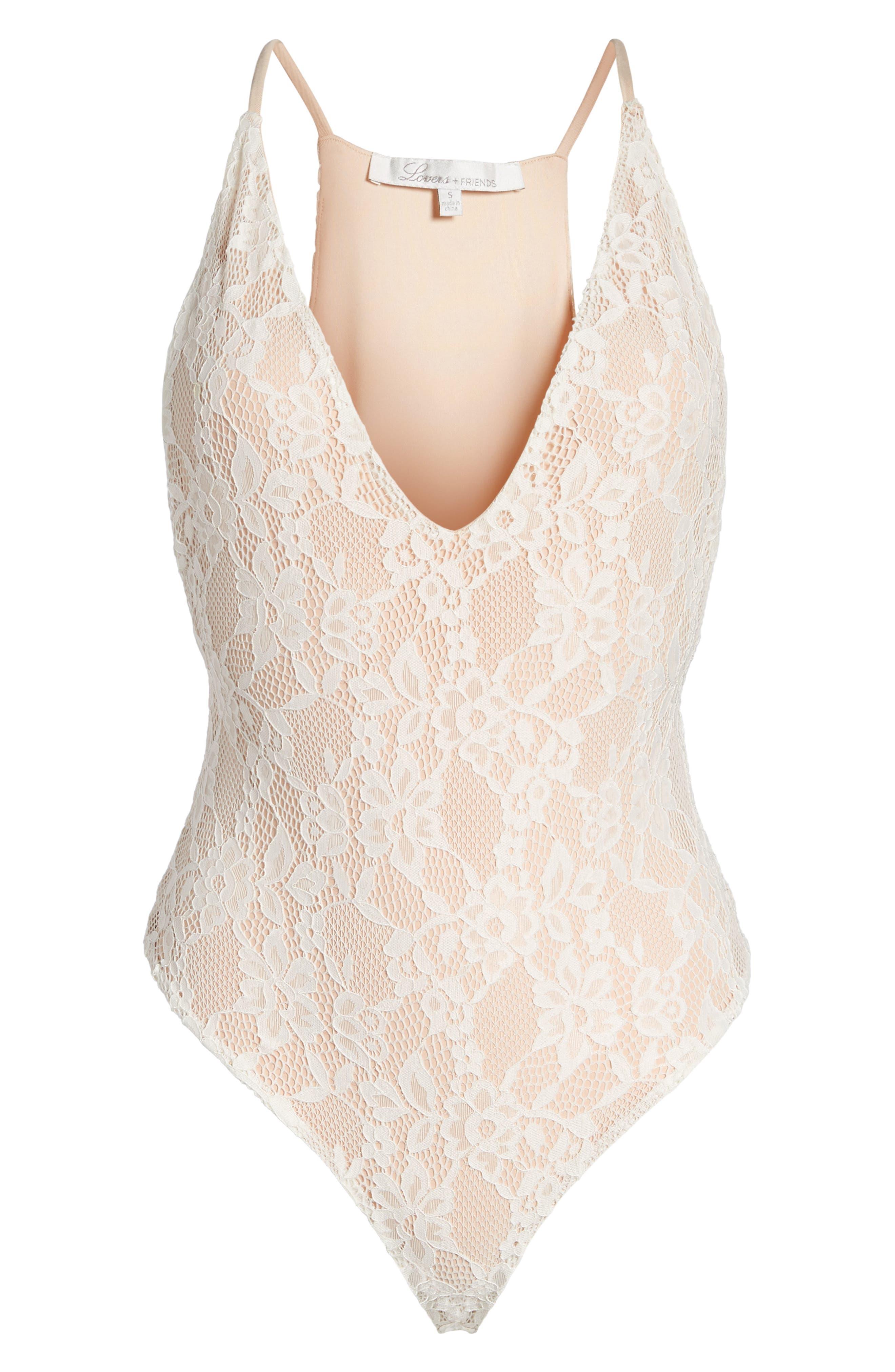 Lace Thong Bodysuit,                             Alternate thumbnail 6, color,                             Ivory