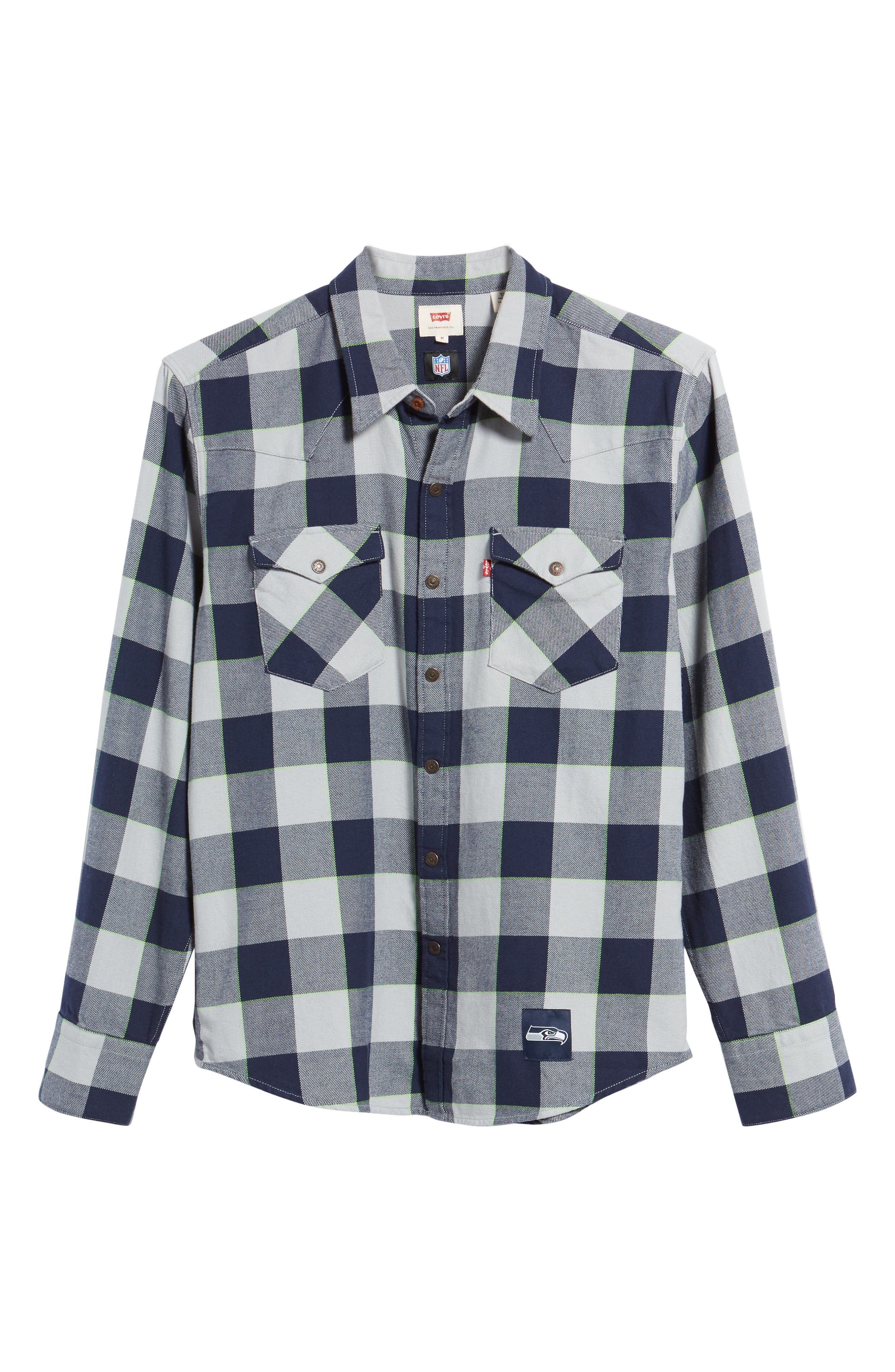 NFL Seahawks - Barstow Plaid Western Shirt,                             Alternate thumbnail 6, color,                             Blue Plaid
