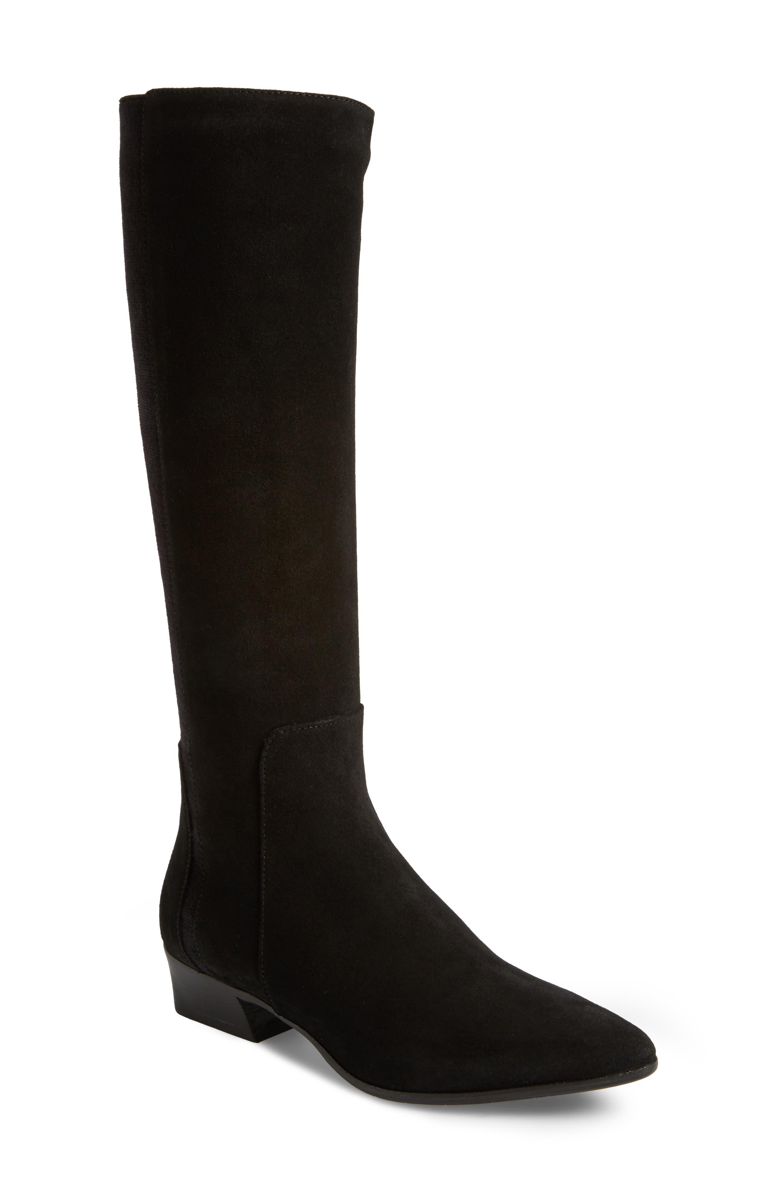 Federica Weatherproof Knee High Boot,                             Main thumbnail 1, color,                             Black Suede