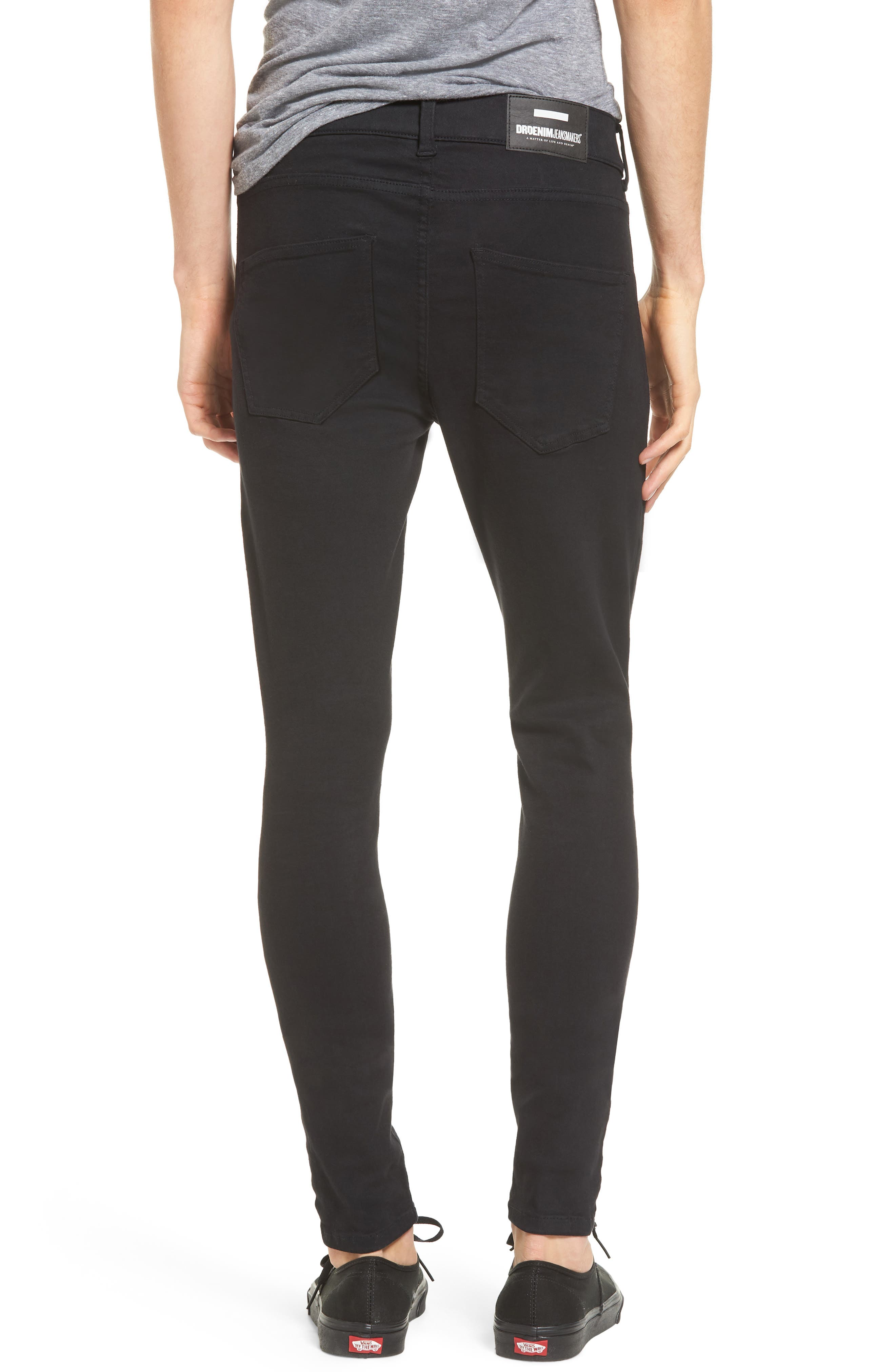 Leroy Slim Fit Jeans,                             Alternate thumbnail 2, color,                             Black Ripped Knees