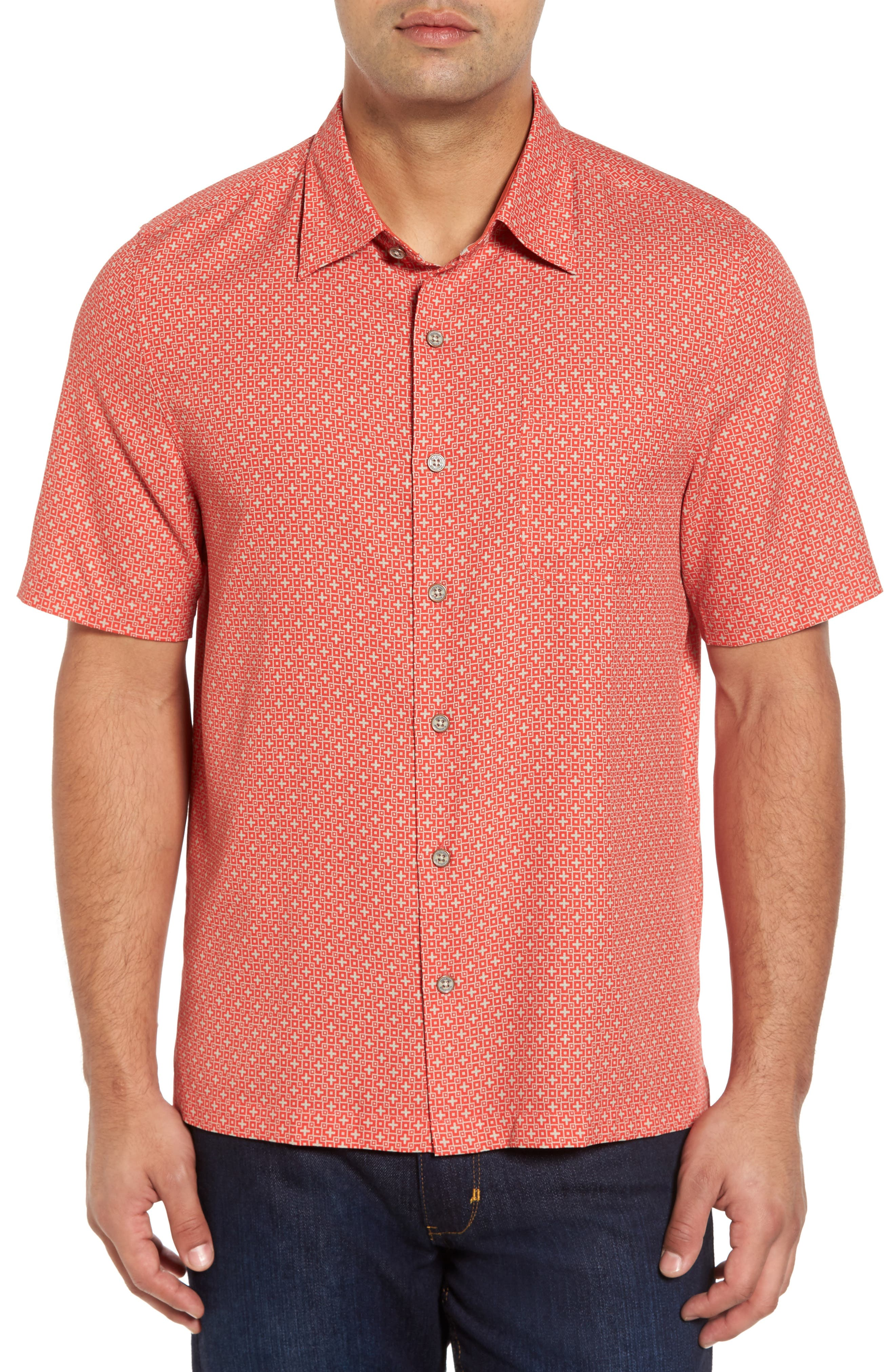 Alternate Image 1 Selected - Nat Nast Everest Print Silk Blend Sport Shirt