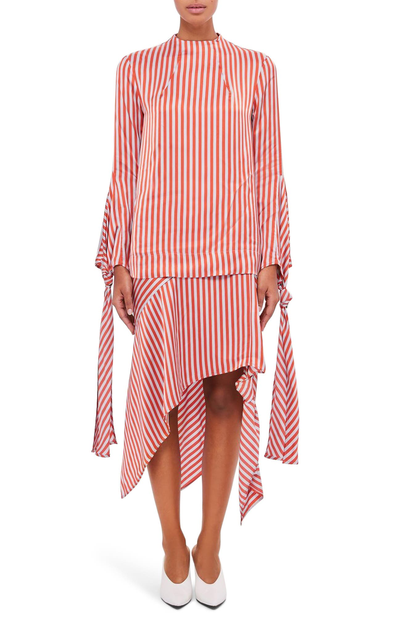 Topshop Boutique Stripe Knot Sleeve Blouse