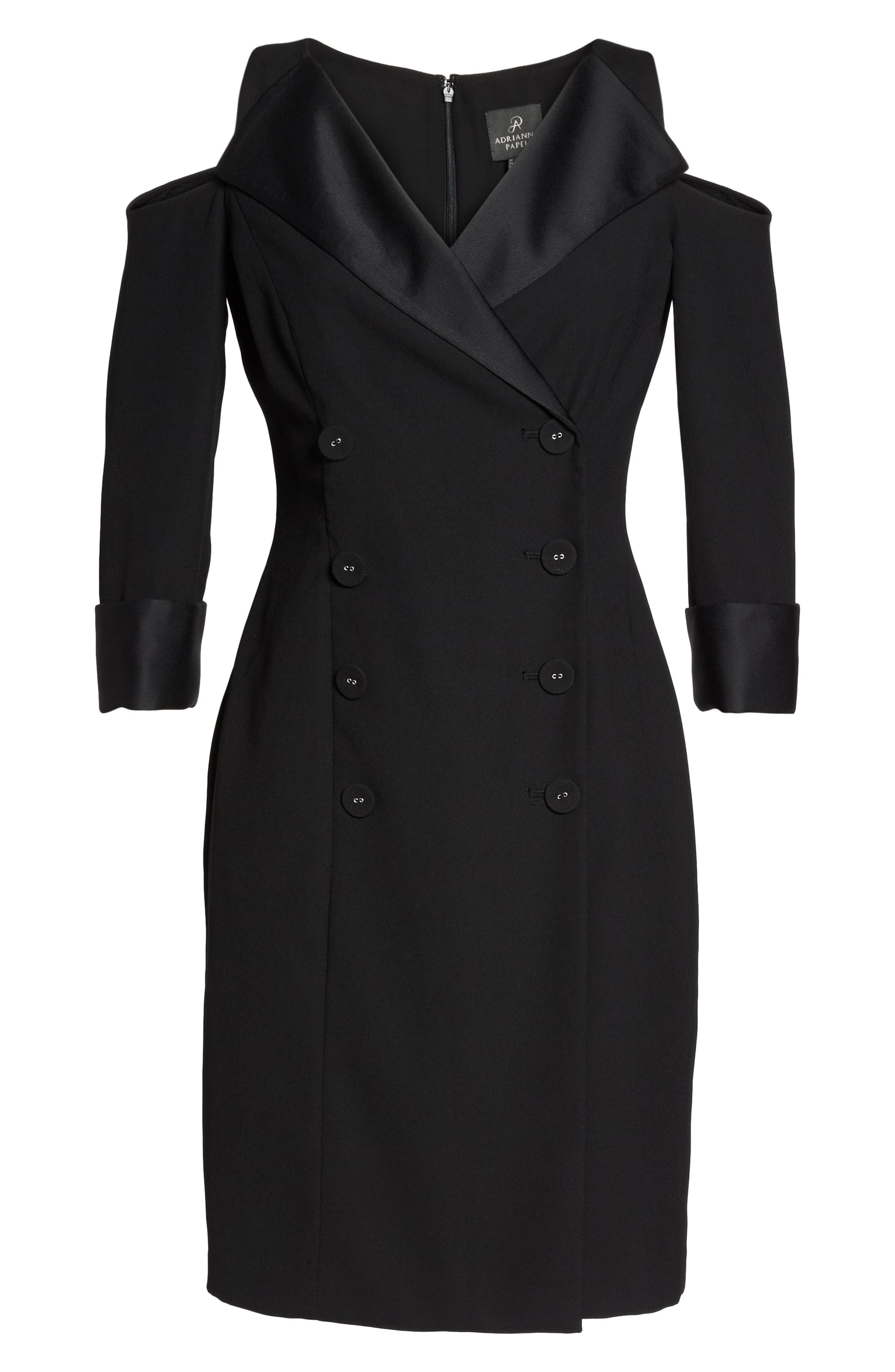 Alternate Image 6  - Adrianna Papell Tuxedo Cold Shoulder Sheath Dress