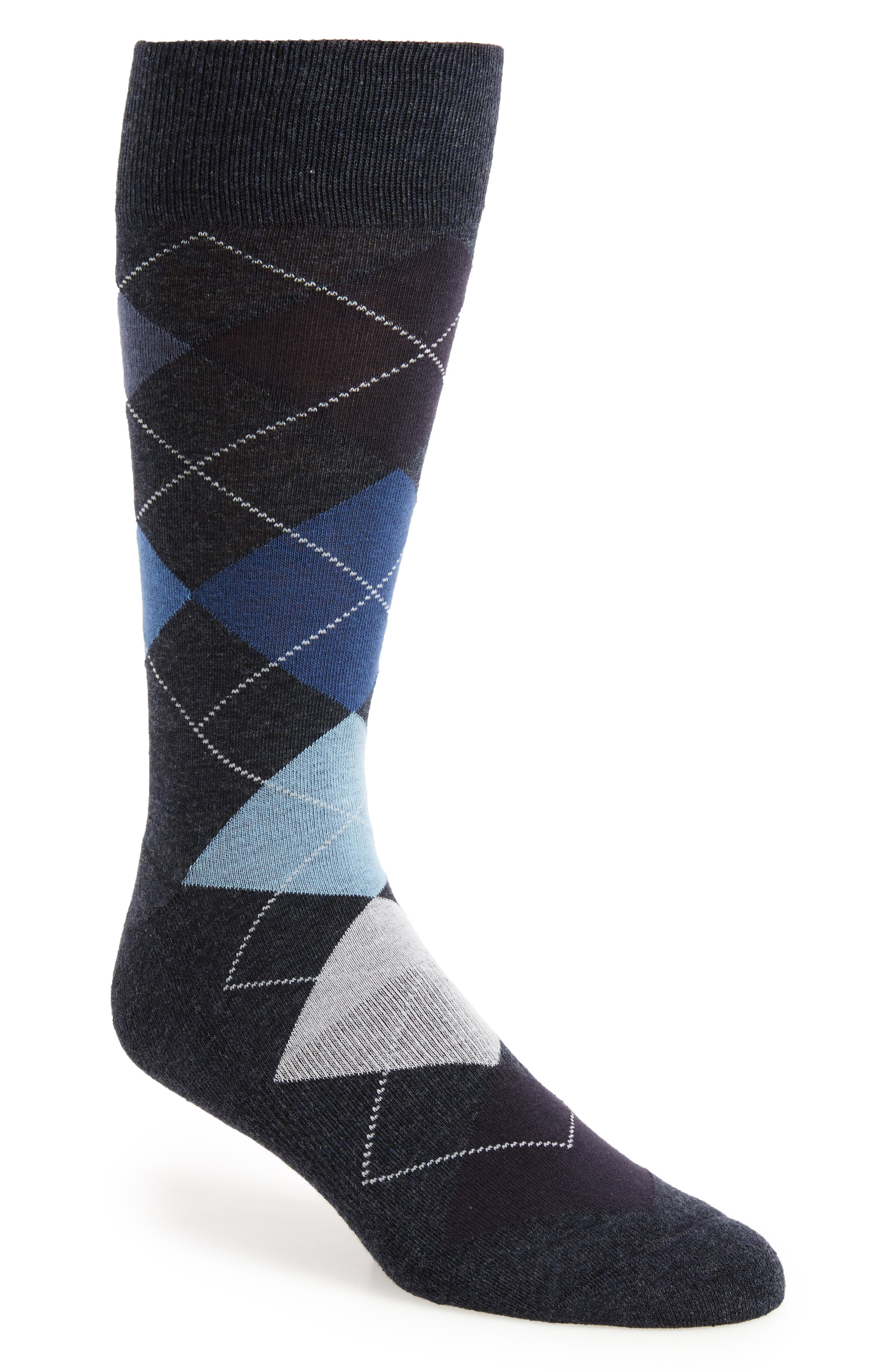 Gradient Argyle Socks,                         Main,                         color, Navy Heather