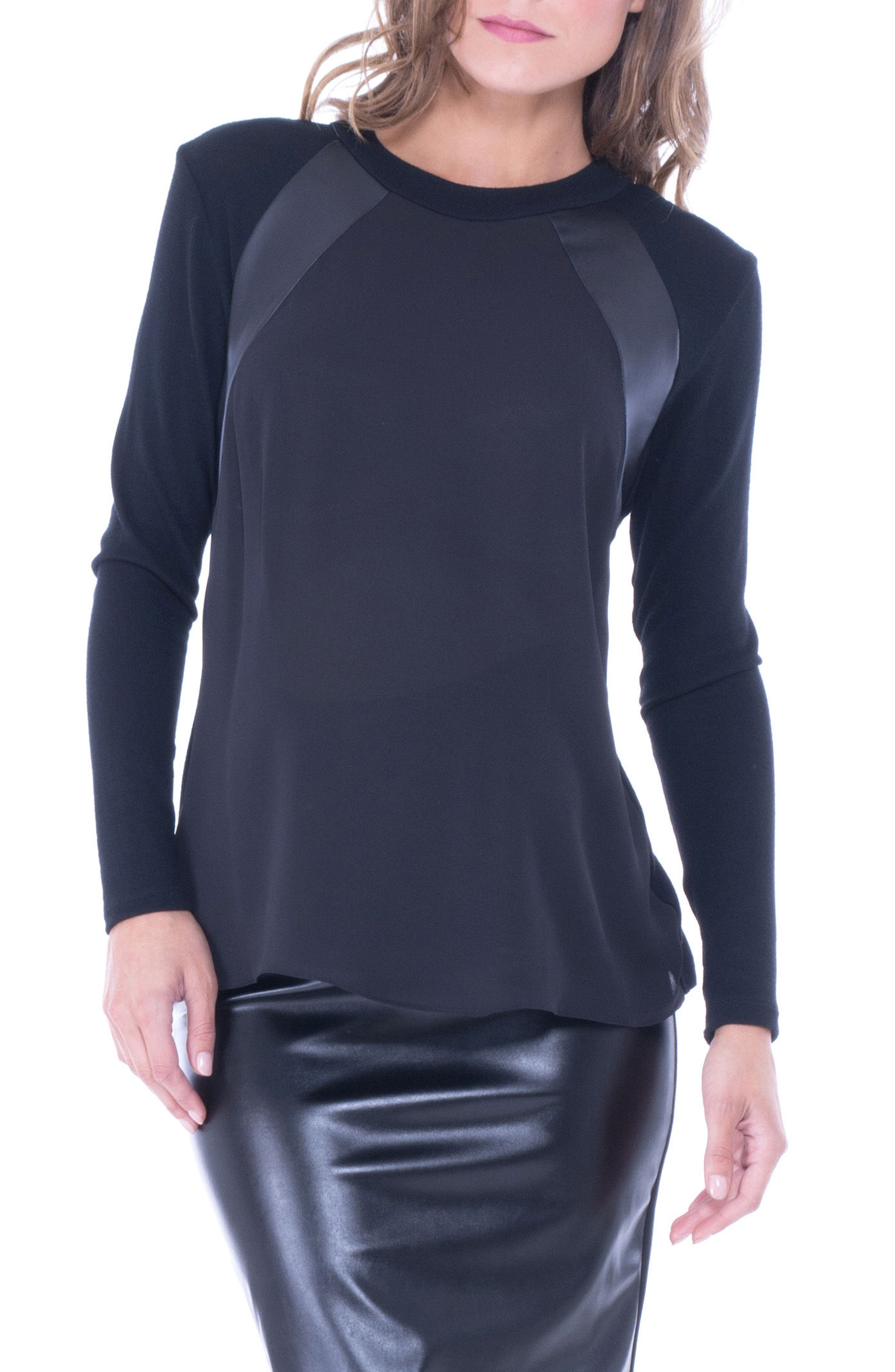 Faux Leather Trim Maternity Top,                         Main,                         color, Black