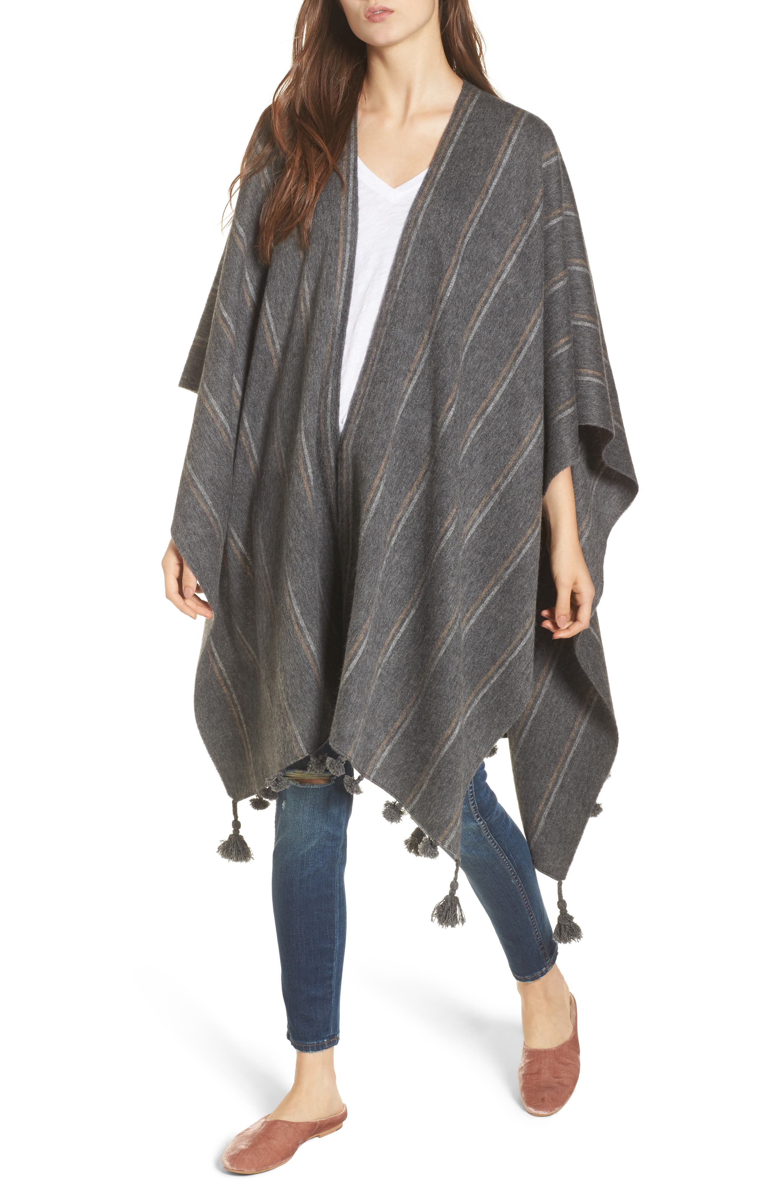 Stripe Poncho Scarf,                         Main,                         color, Heather Charcoal