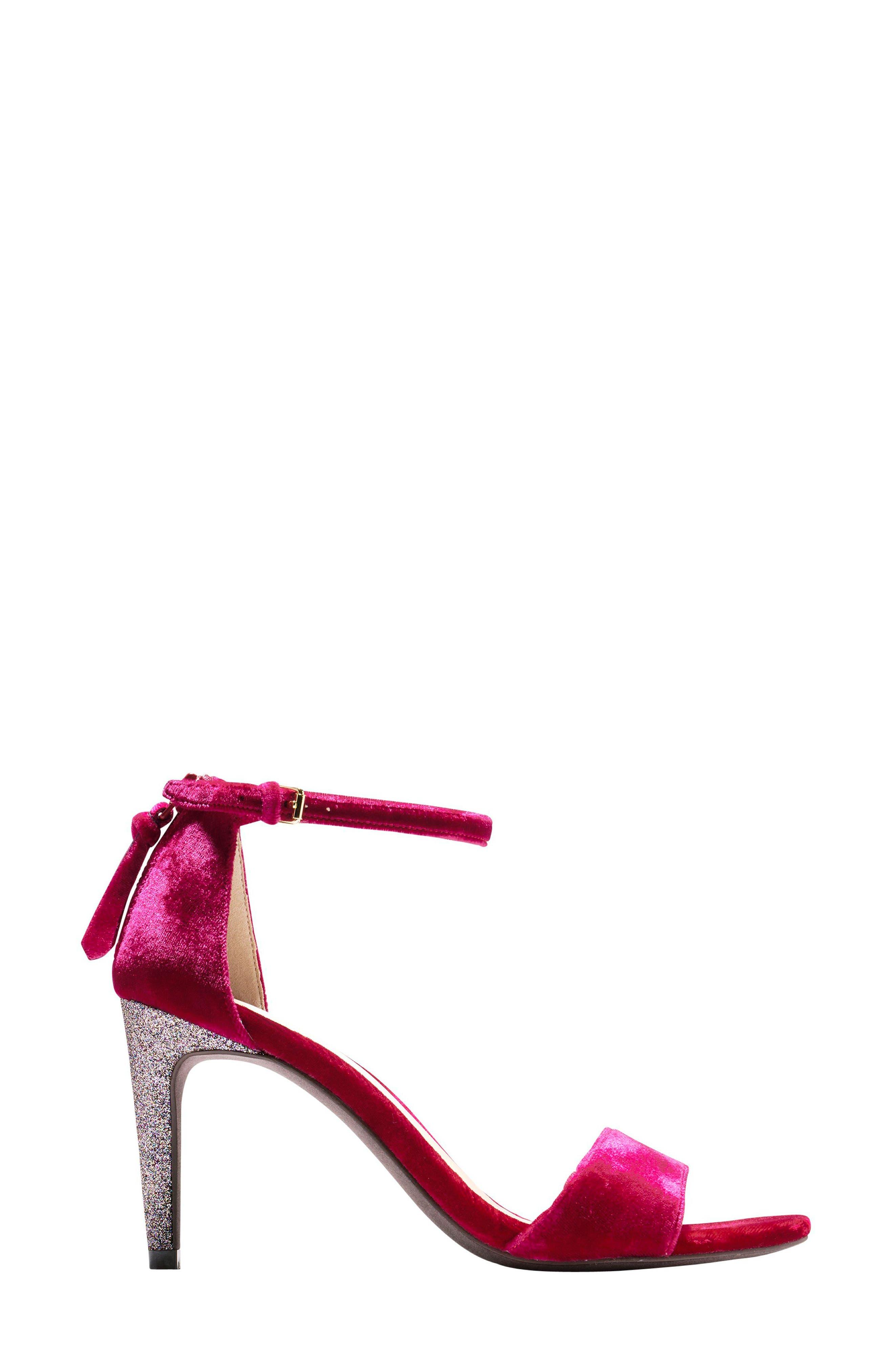 Clara Grand Ankle Strap Sandal,                             Alternate thumbnail 3, color,                             Red Velvet