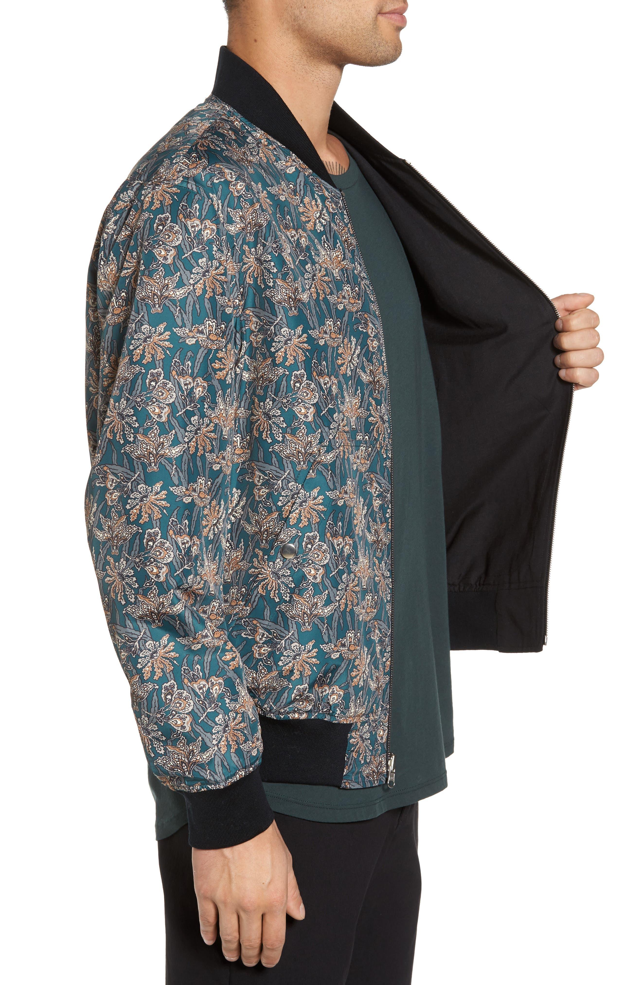 Basma Reversible Bomber Jacket,                             Alternate thumbnail 4, color,                             Black/ Emerald