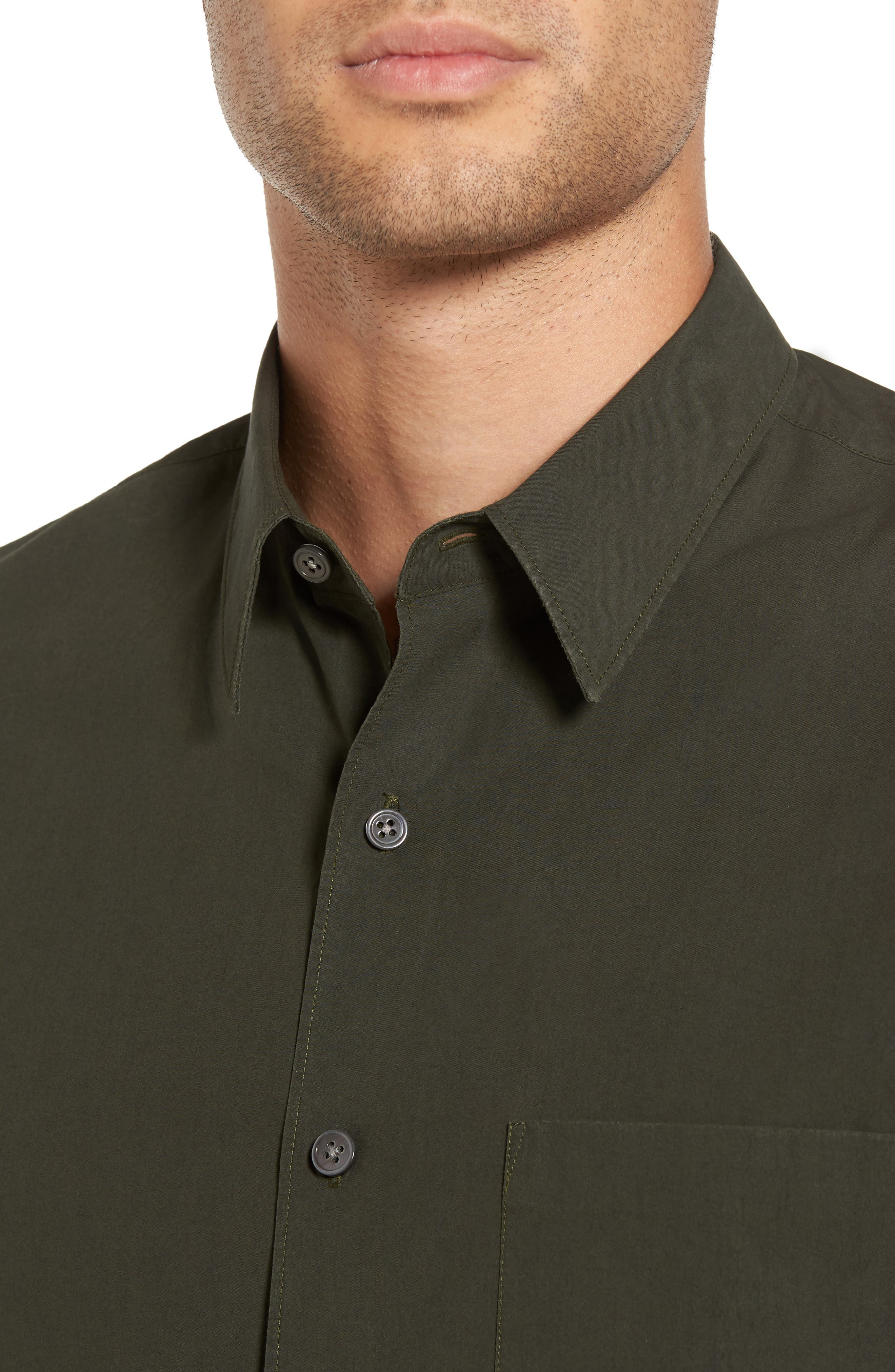 Rammy Trim Fit Solid Sport Shirt,                             Alternate thumbnail 4, color,                             Mantis